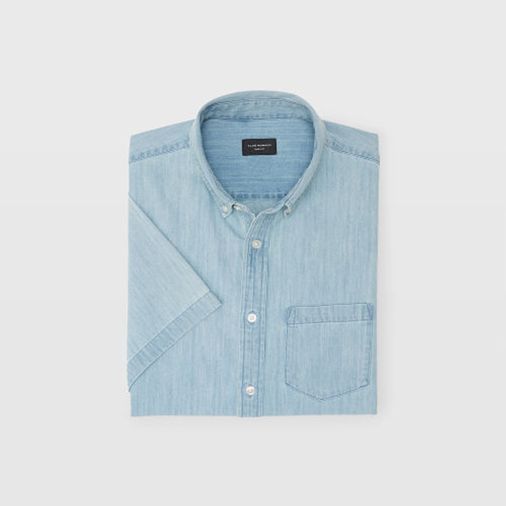 Slim Short-Sleeve Denim Shirt   HK$990