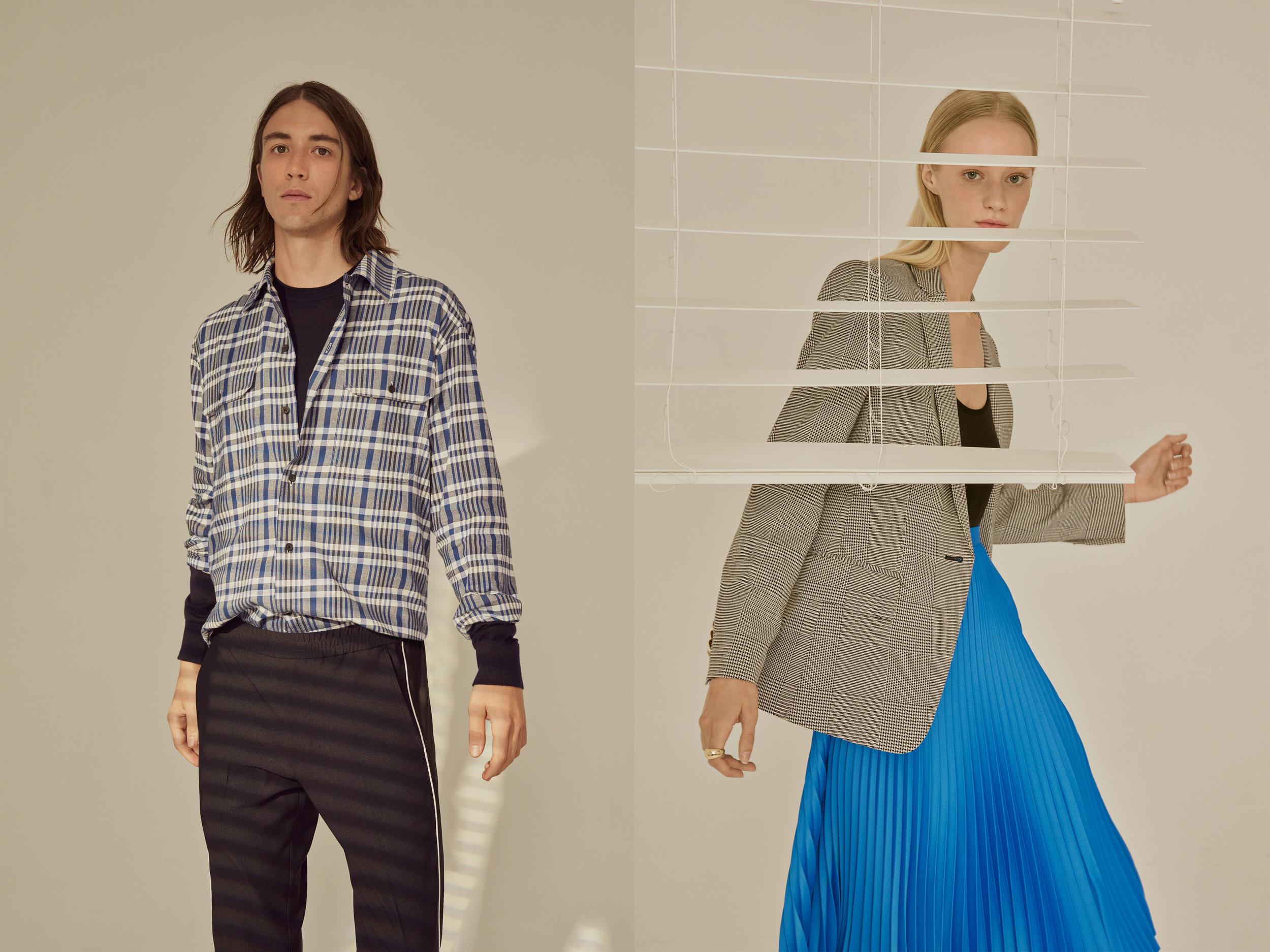 Double Knit Crew, Brushed Plaid Work Shirt, Piped Elastic Pant / Unitard, Borrem Blazer, Annina Skirt