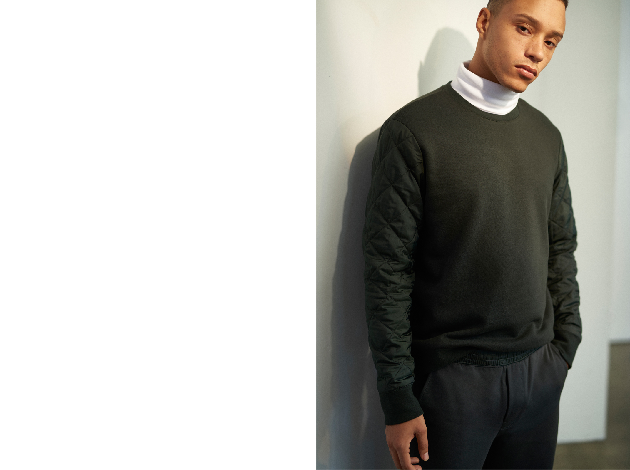 Quilted Sleeve Sweatshirt HK$1,290, Coverlock Turtleneck HK$990, Paneled Sweatpants HK$1,490