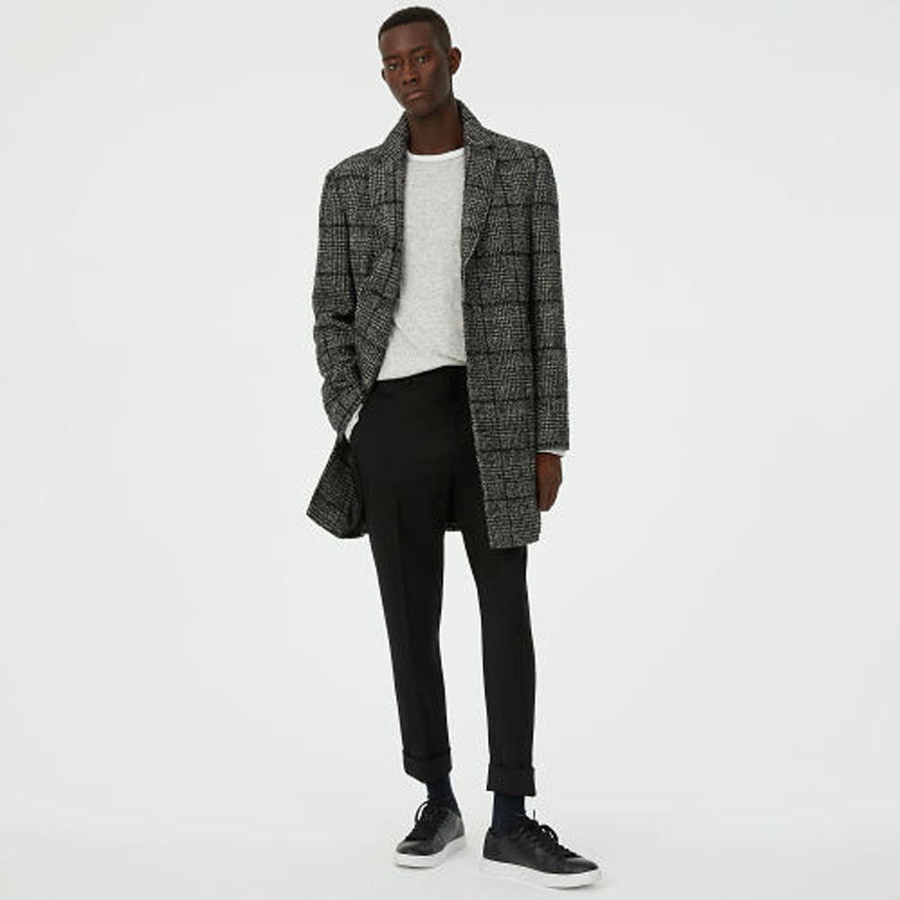Textured Plaid Topcoat   was HK$4,990   now HK$3,283