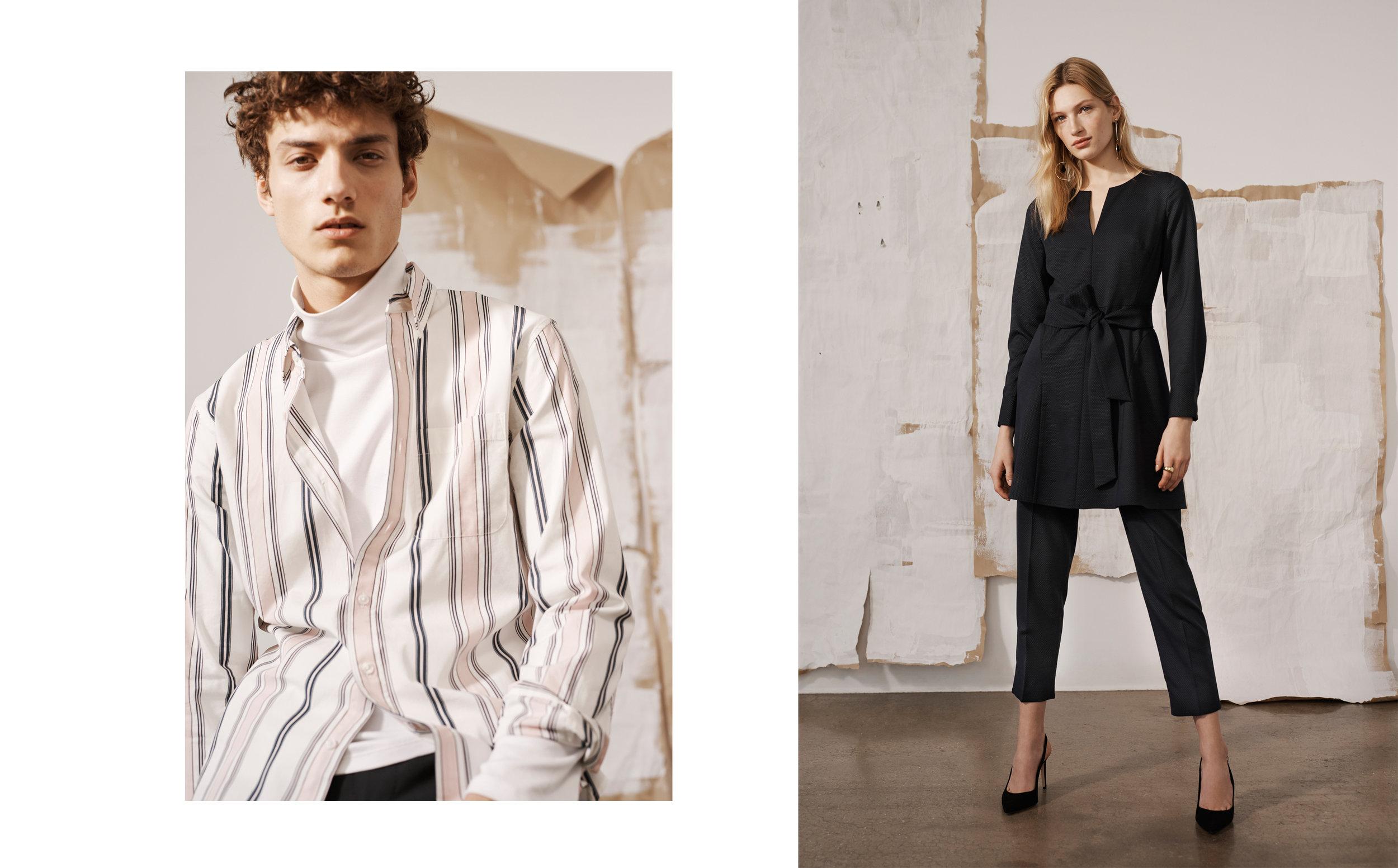 Slim BD Wide Stripe, Coverlock Turtleneck / Kasca Dress, Borrem Pant