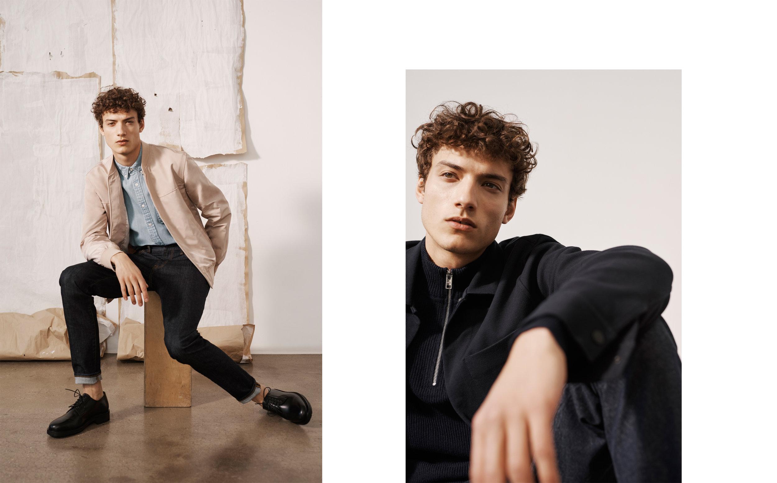 Bomber Jacket, Super Slim Denim, LS Oxford Solid / Twill Workwear Jacket, Cashmere Quarter Zip, Connor Denim Chino