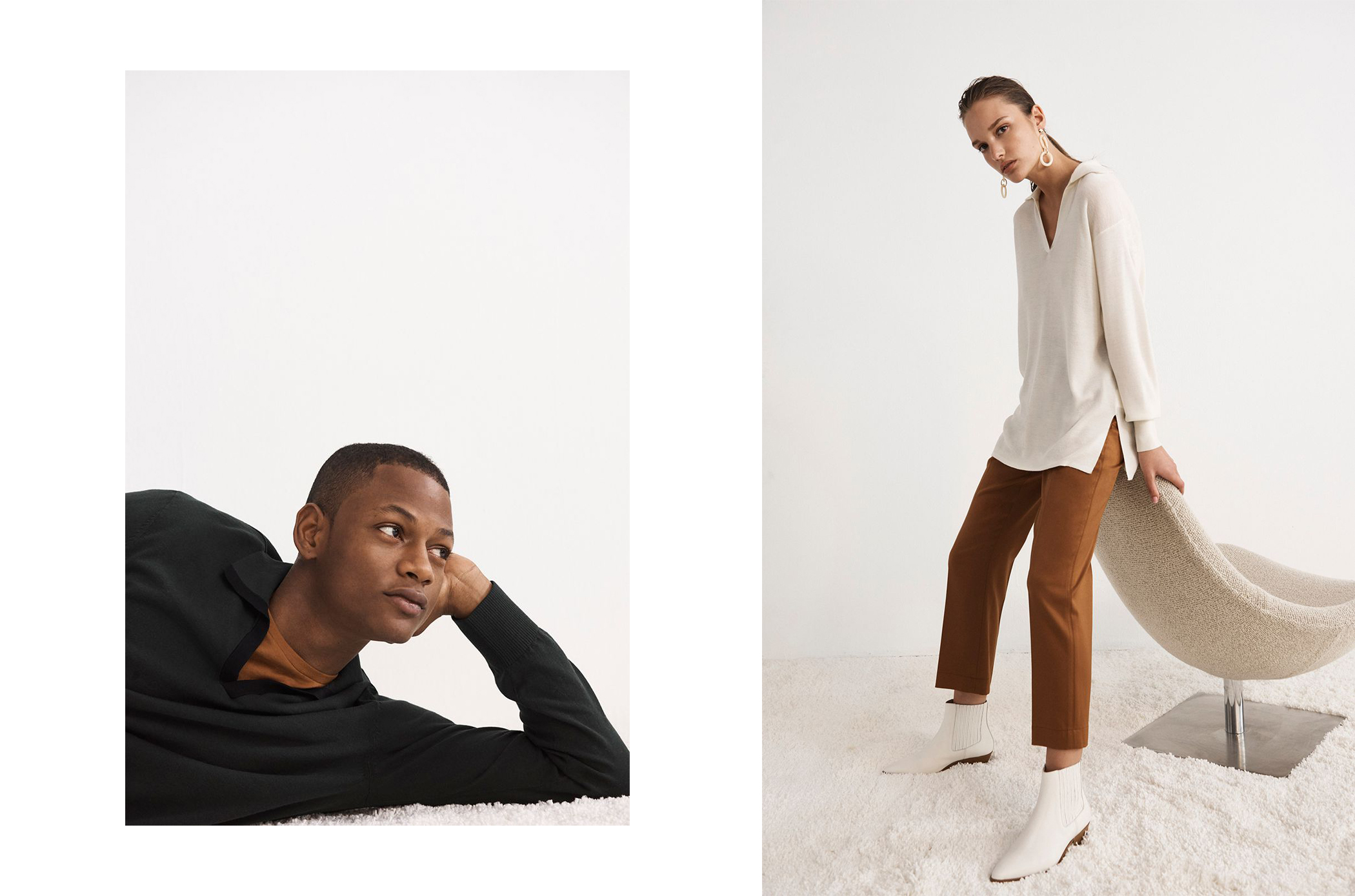 Johnny Collar Polo, Williams Pocket Crew Pullover / Dahlja Sweater, Fayhe Pant