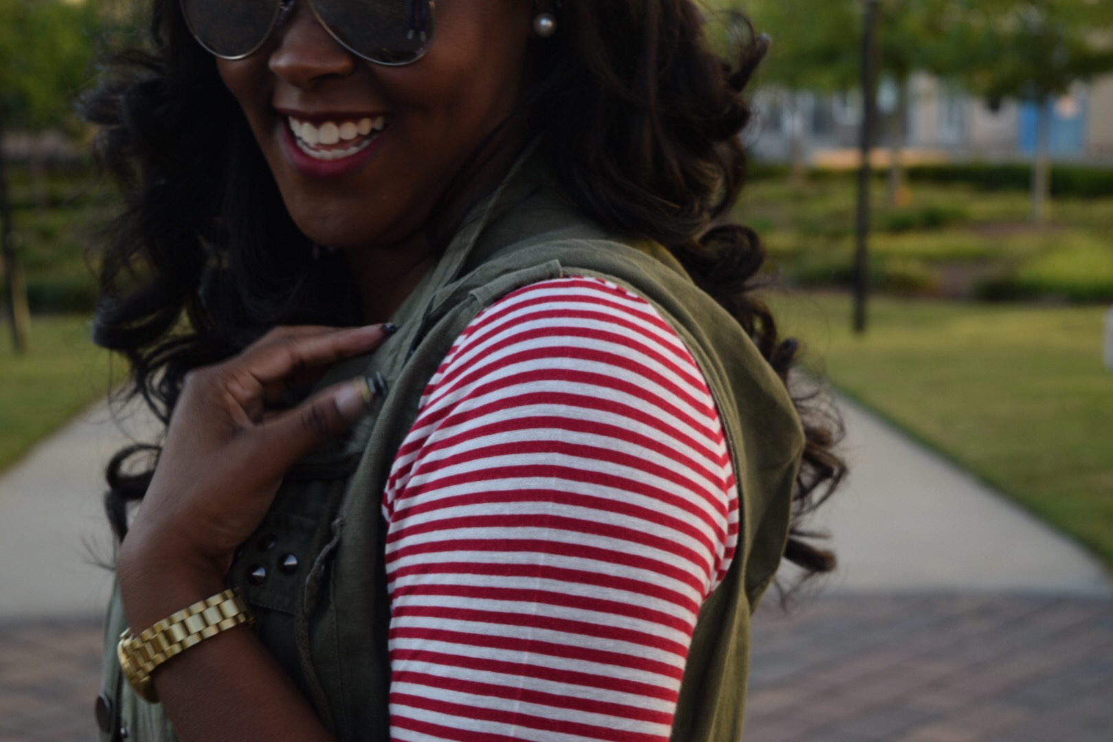 Target X Who What Wear Stripe Shirt (similar  here ), Forever 21 Army Green Vest (similar  here ), J Crew Skirt (similar  here ); Steve Madden Cheetah Flats (similar  here )