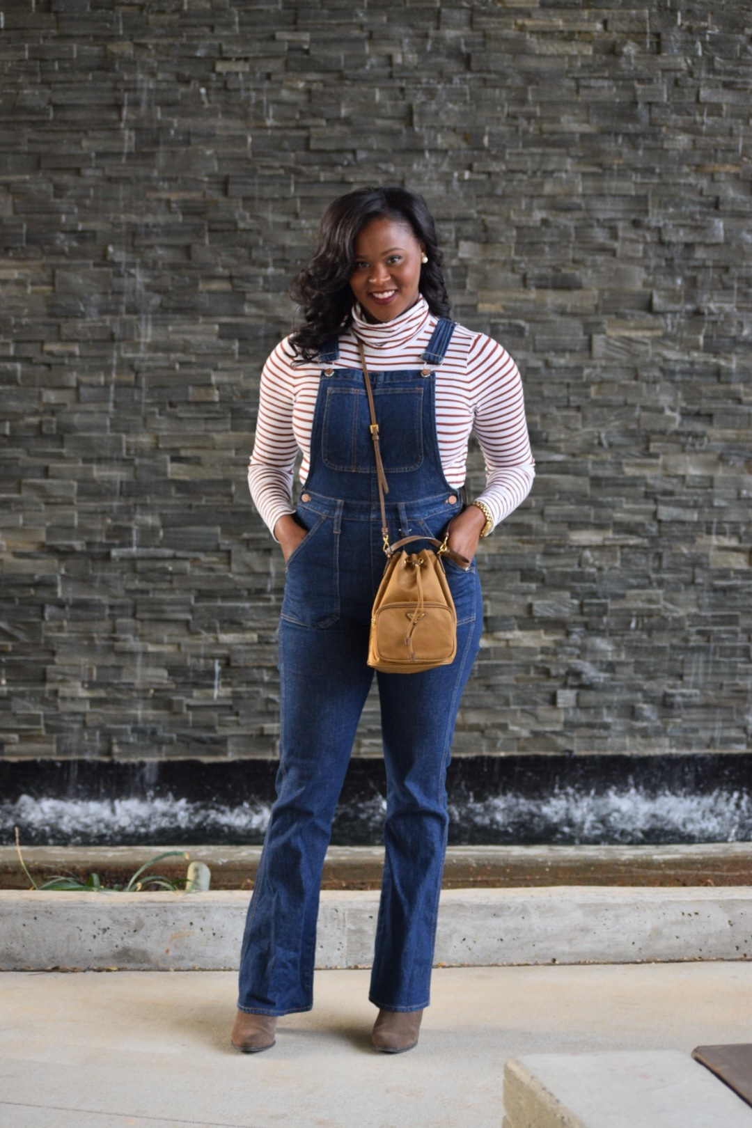Madewell Flare Overalls (old, similar  here ,  here ); J Crew Turtleneck ( here ), Prada Purse (old), Nine West Boots (old, similar  here )