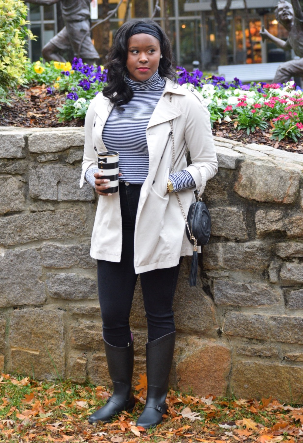 Banana Republic Turtleneck (old, similar  here ), American Apparel Easy Jeans ( here ), Zara Trench coat (old, similar  here ), Gucci bag ( here ), Urban Outfitters Headwrap ( here ), Alice & Olivia Starbuck's Cup (old), Capelli Rain Boots (old, similar  here )