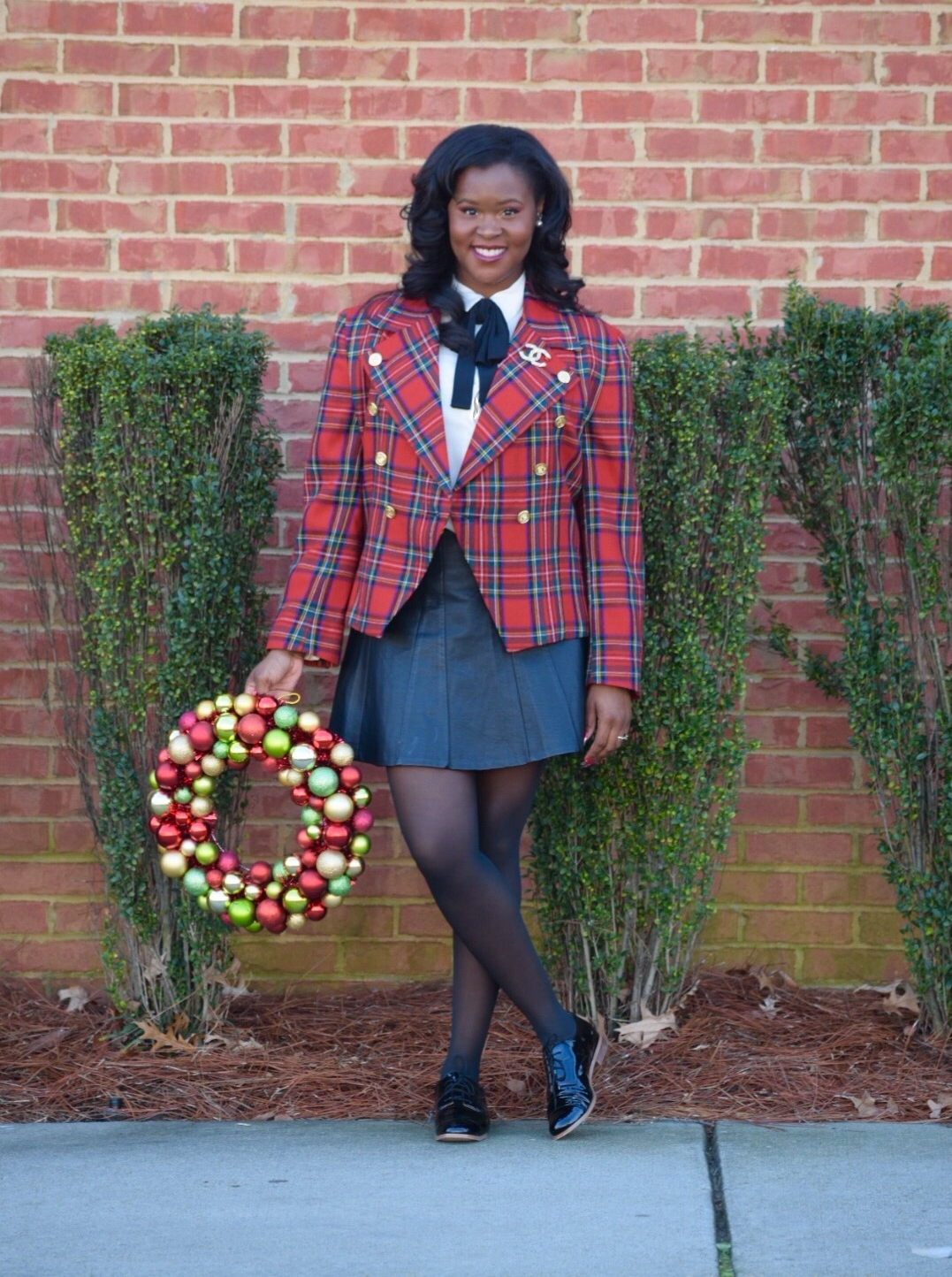 Rafaells tartan Jacket (vintage), Ann Taylor Blouse (similar  here  &  here ), Leather Skirt (old, similar  here ), Michael Kors Patent Oxfords (recently sold out, similar  here ), Chanel brooch, Ornament Wreath ( here )