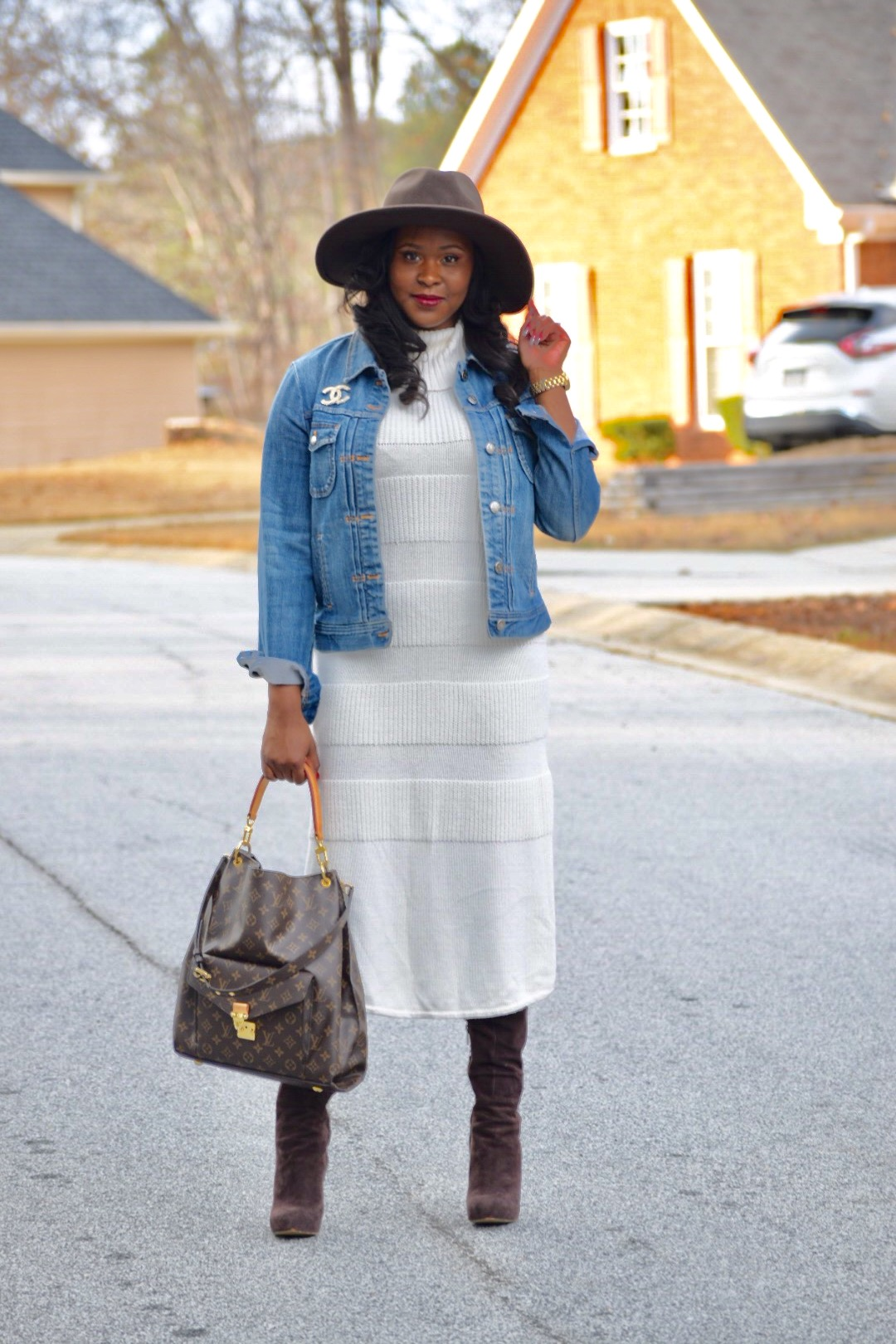 Anthropologie Turtleneck Sweater Dress (purchased last year, similar  here ,  here  &  here ), Sam Edelman Boots (similar  here ), Hat purchased at the Goorin Bros. Hat Shop in Ponce City Market, J Crew Jean Jacket ( here )