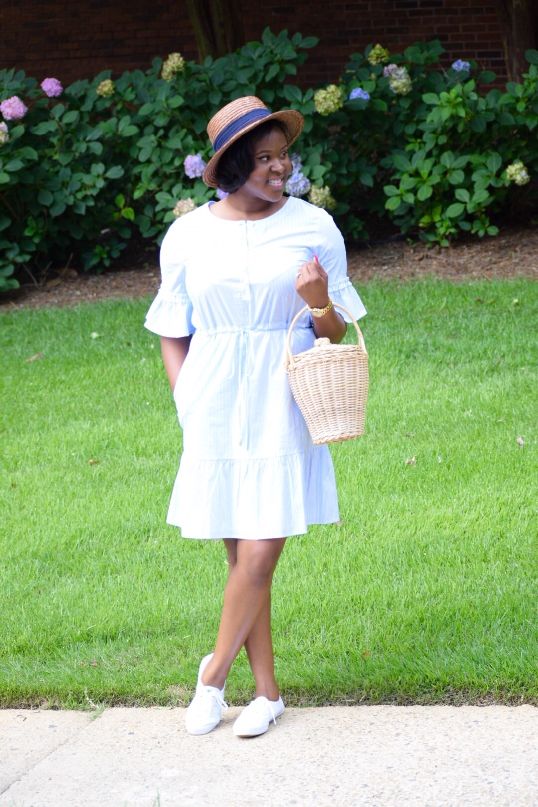 Ann Taylor Dress ON SALE! ( here ), Keds ( here ), Hat (old, but I love this one! here ), Bag (recently sold out)