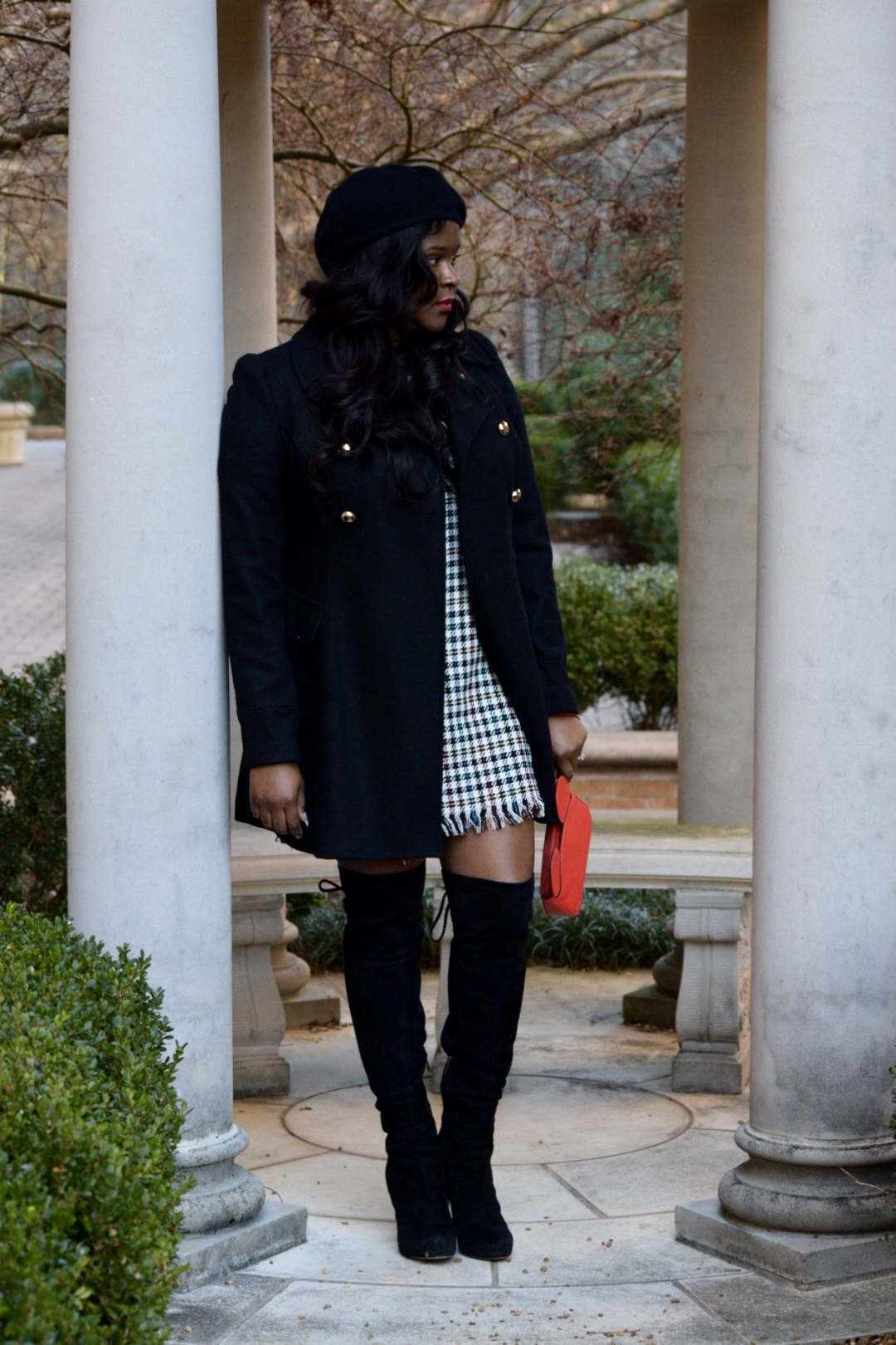 Zara  Dress  (on sale!), Sam Edelman 'Kayla'  Boo t, INC Coat (old), Vintage Beret, Disney x Coach  Wristlet