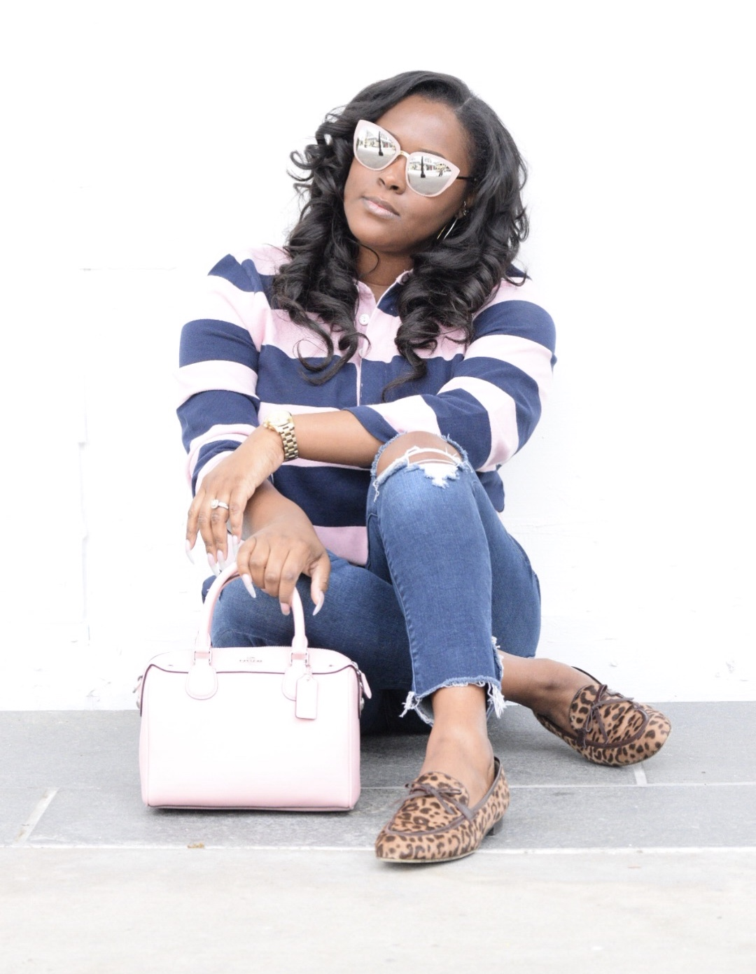 J Crew  Shirt  &  Loafers , Abercrombie  Jeans , Coach  Bag , Nordstrom Sunnies (similar  here )