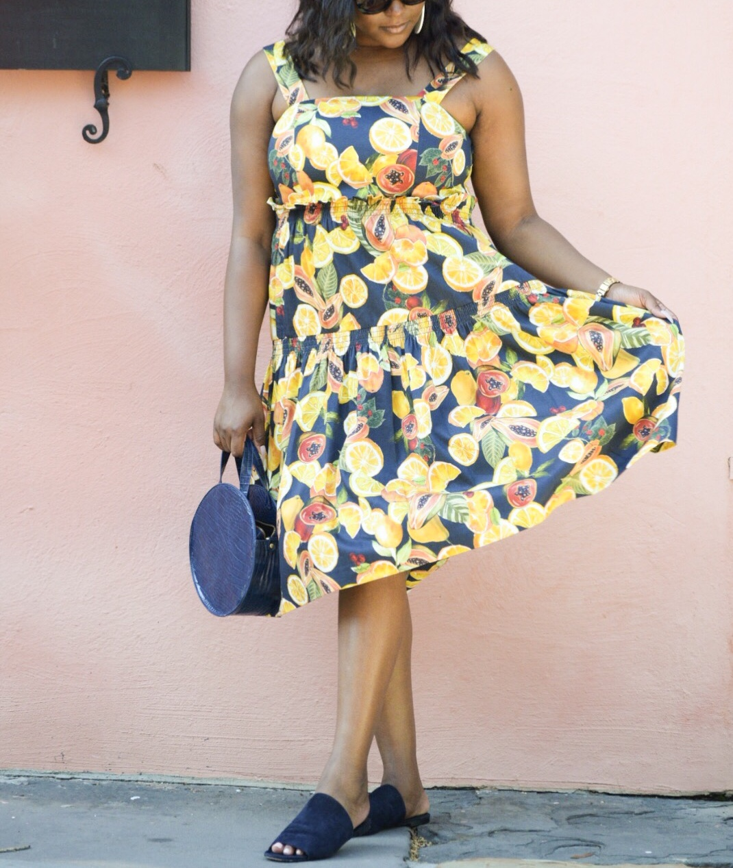 Gianni Bini Fruit  Dress , Honey B Gold Lemon  Earrings , Via Spiga  Sandals , Anthropologie Handbag (currently on sale...check your local store)