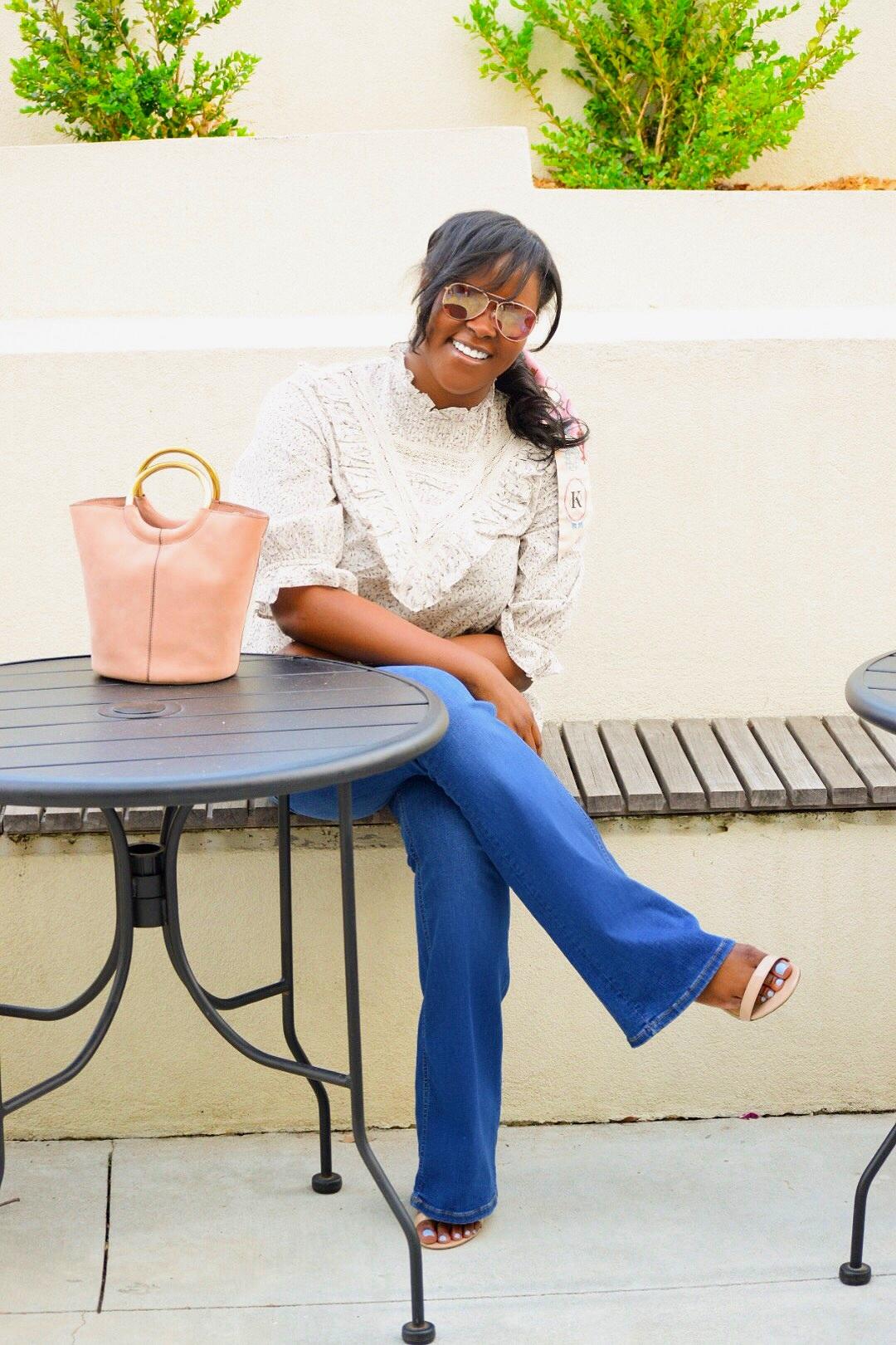 H&M Ruffle  Top  &  Sunnies , Zara  Jeans , Steve Madden  Heels , J Crew Purse (purchased last year), Dior Mitzah  Scarf