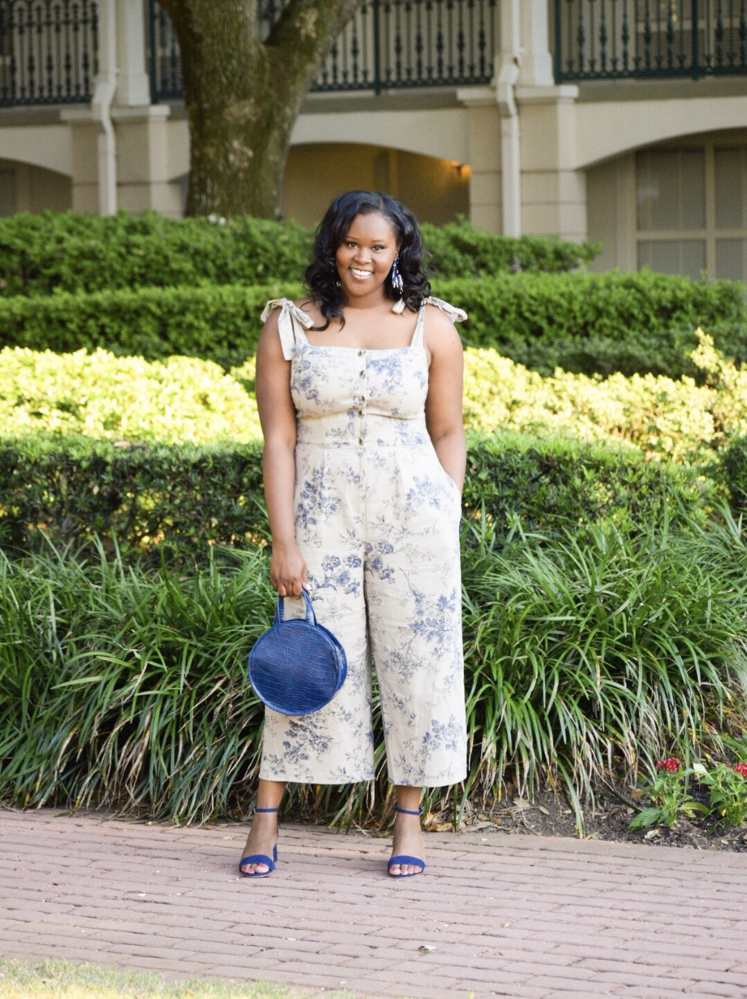 GMG Magnolia  Jumpsuit , Aldo  Sandals , Anthropologie Purse (old), H&M Earrings (old)