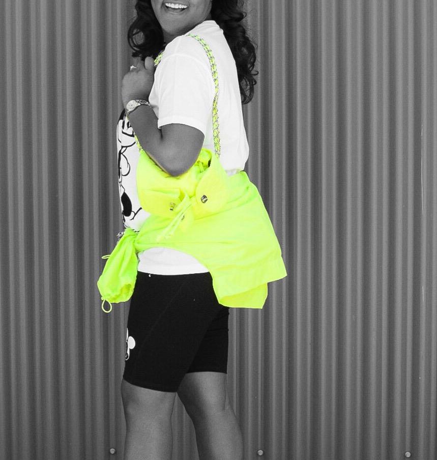 Zara Mickey Glitch  T-Shir t & Biker  Short , Zara Neon  Raincoat , F21 Quilted  Backpack , Celine Sunnies (old), Adidas  Slides