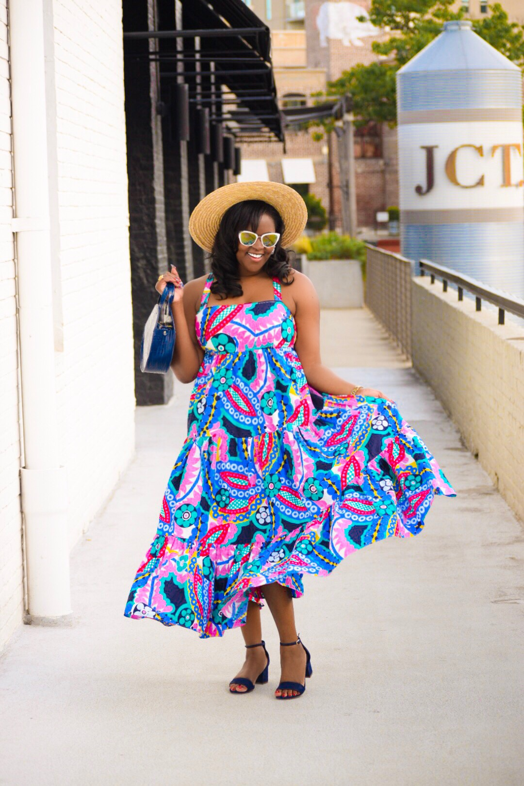 J Crew Ratti Dress (not available online, but check your local store. Also check out more  pieces  in this print), Aldo  Sandals , Anthropologie Bag (old), Urban Outiftters  Hat  (I also love this  one ), H&M Earrings (old)