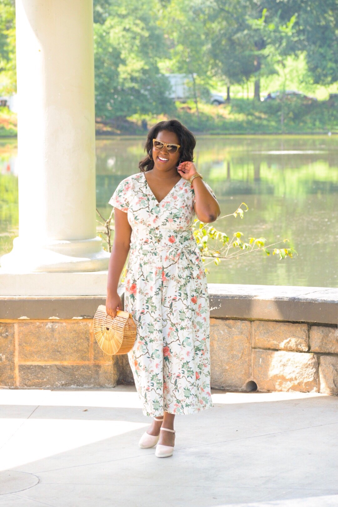 Gal Meets Glam  Jumpsuit , H&M  Wedges , Cult Gaia  Purse , Valentino Sunnies (old)