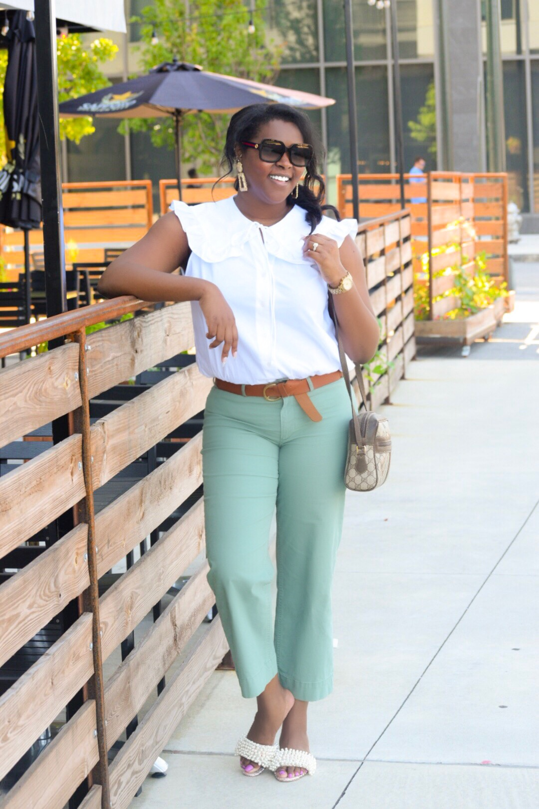 Zara Peter Pan  Top , Old Navy  Trousers , Gucci Sunnies & Bag (mine is vintage, but latest version  here ), Tory Burch Sandals (purchased a few years back), Zara  Earrings