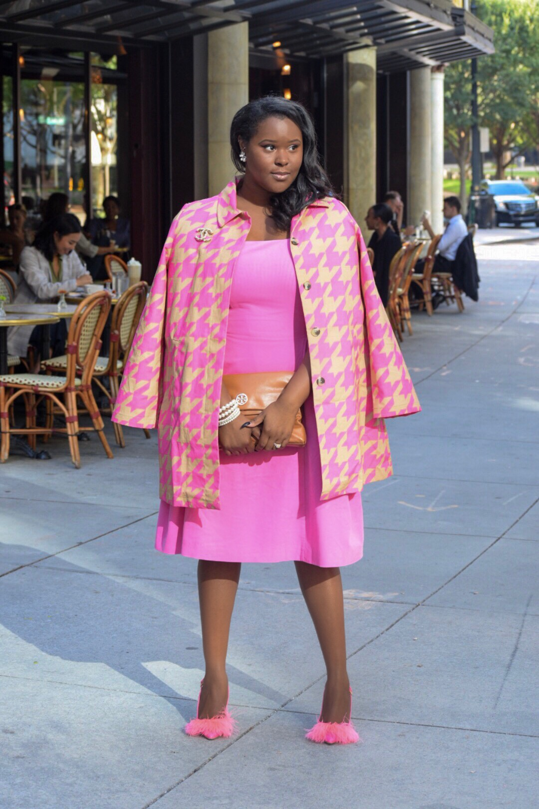 Target x Isaac Mizrahi  Jacket  &  Dress , Moschino Shoes (old), Tory Burch Clutch (old), J Crew  Earrings , Chanel Brooch (old)