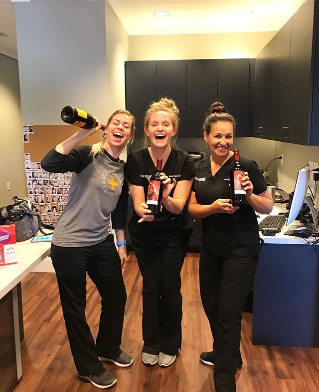 Happy National Dental Hygienist week to these three! Glad to have y'all around to keep our teeth clean and healthy (and to polish off those pesky wine stains) 😉🍷🦷