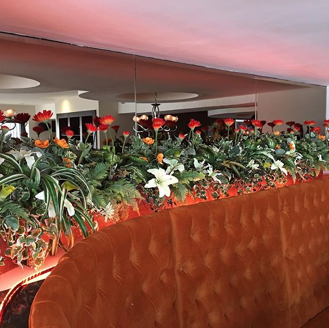 A little floral diversity. Refurb of East restaurant #silkplants #floraldecor