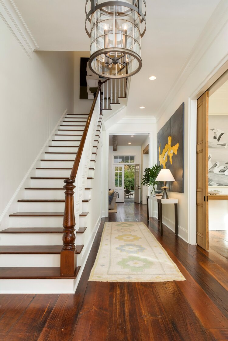 Foyer-newel post .jpg Colleen Waguespack Interiors