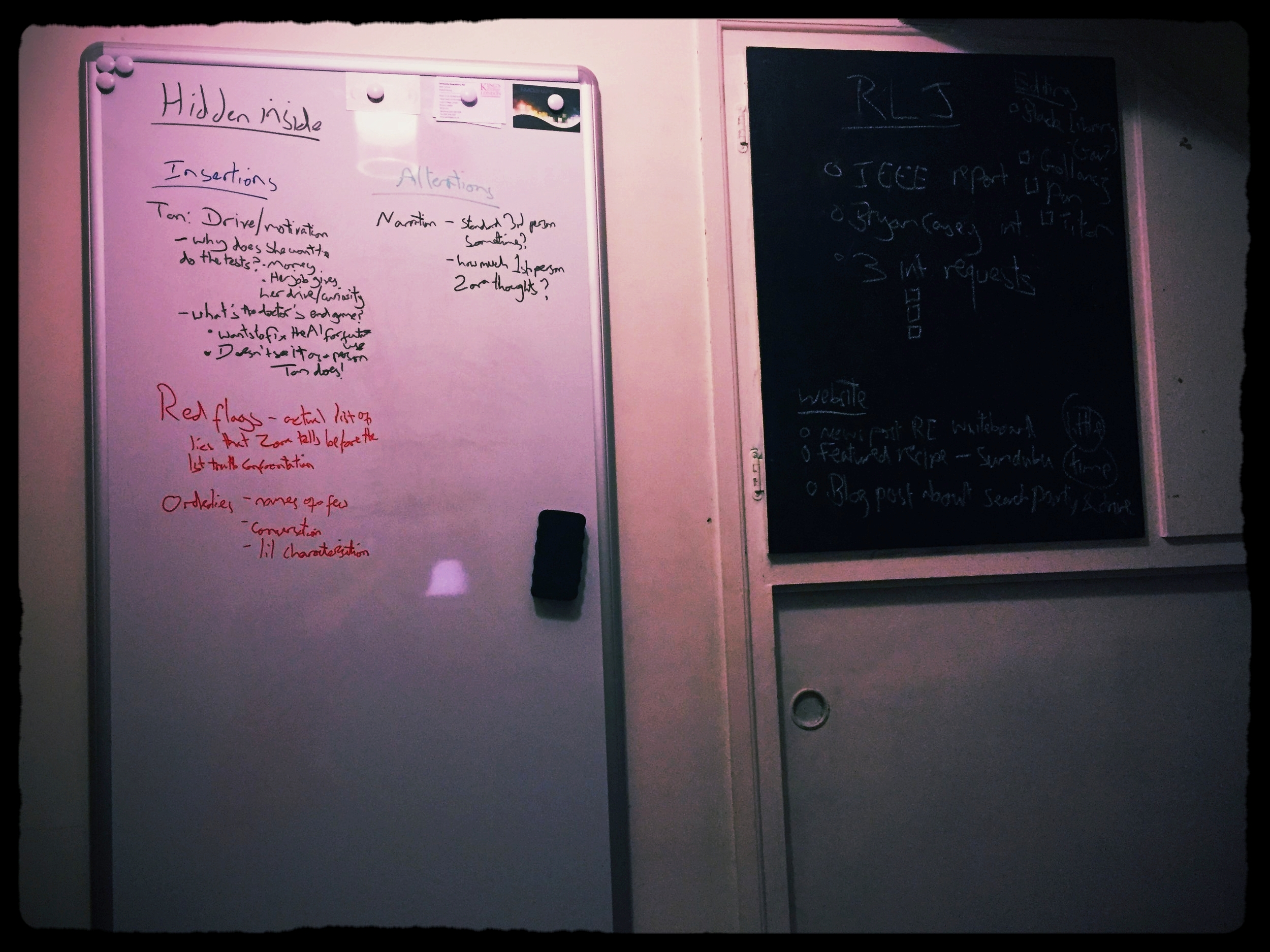 It is a whiteboard, despite the overly dramatic filter I've chosen.