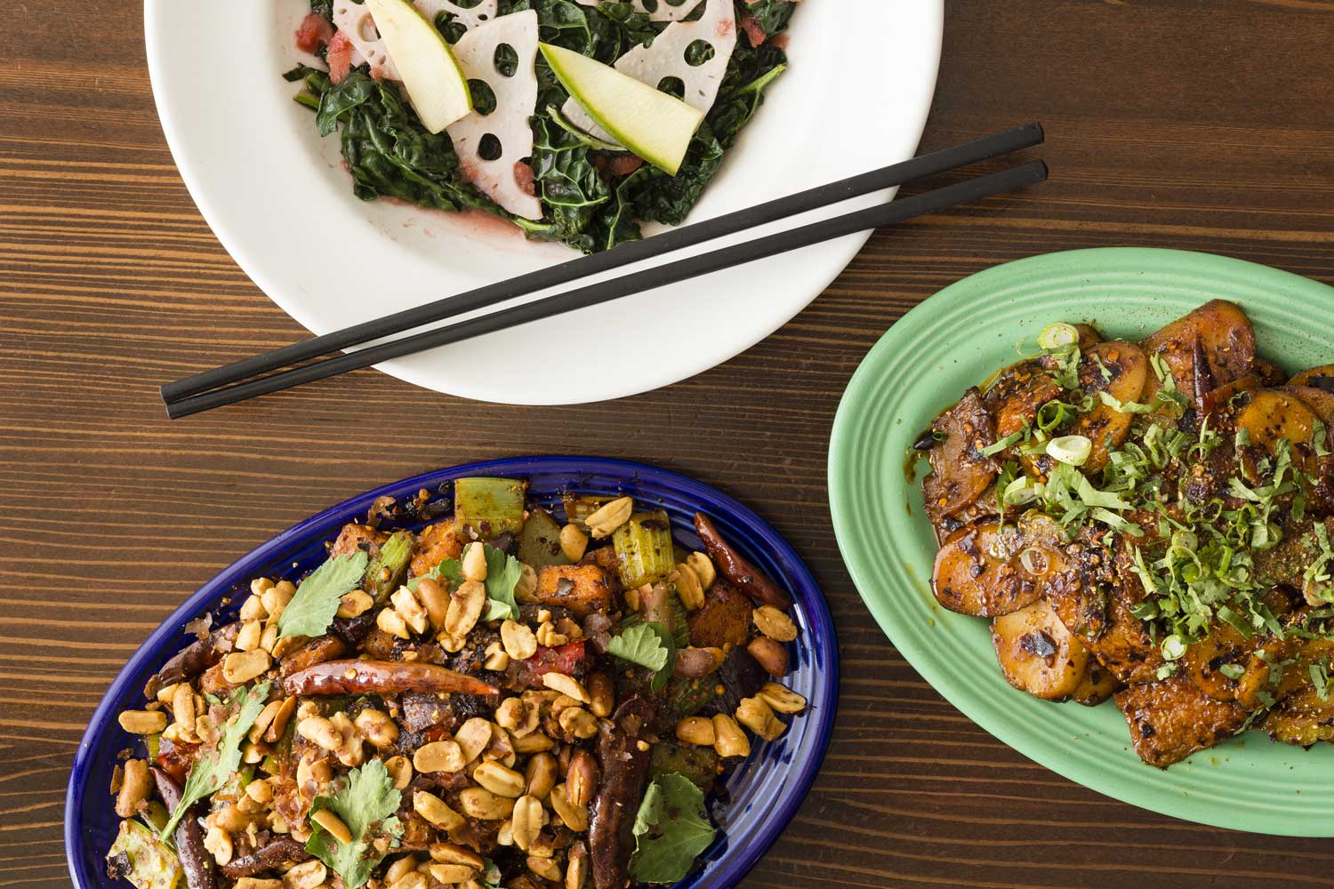 Clockwise from top: Danny Bowien's Black Kale, Thrice Cooked Bacon & Kung Pao Pastrami  photo courtesy of Andrew Rowat