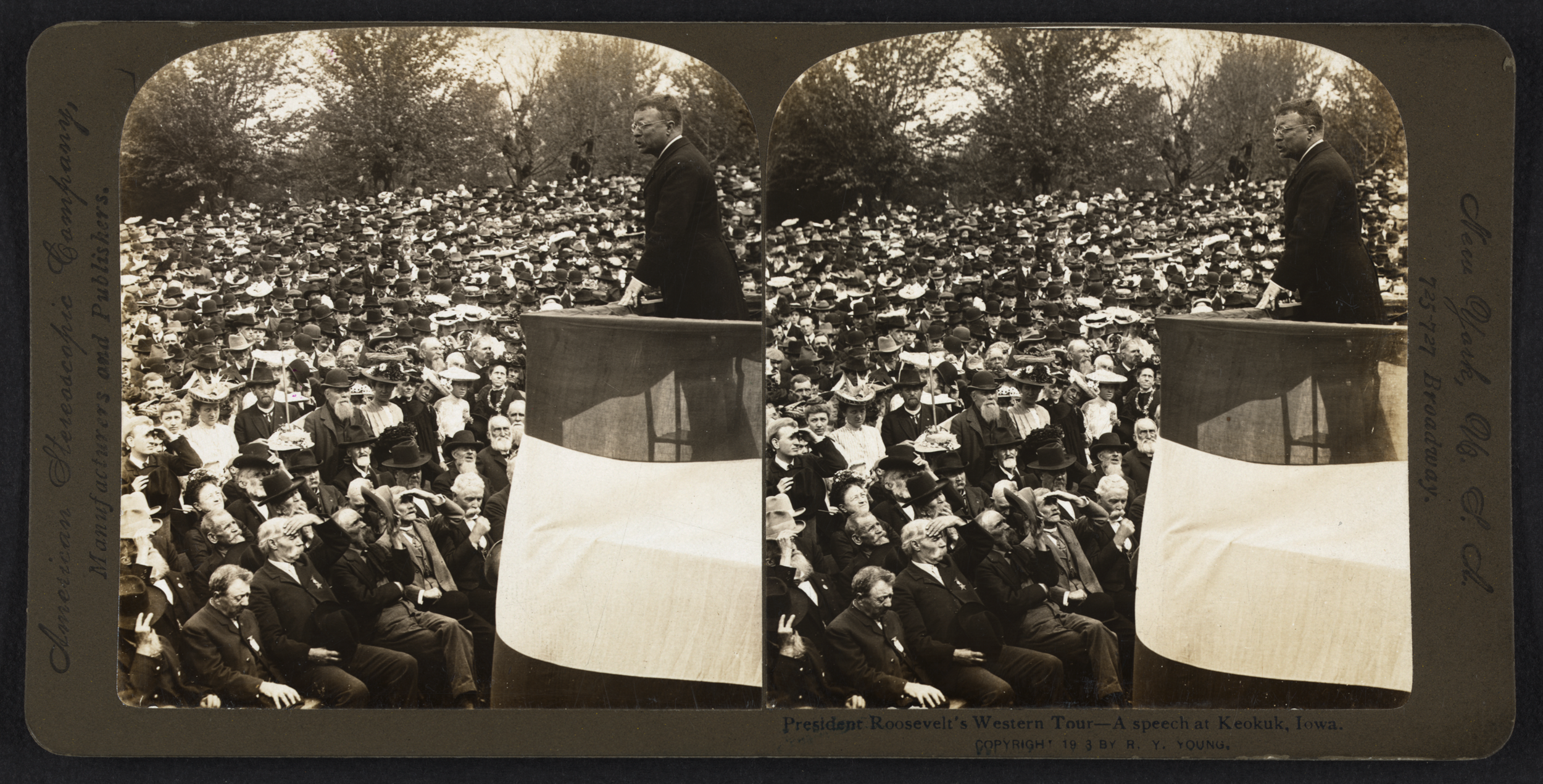 Stereograph of Roosevelt speaking in Keokuk, Iowa, 1903. Courtesy of the Library of Congress Prints and PhotographsDivision.