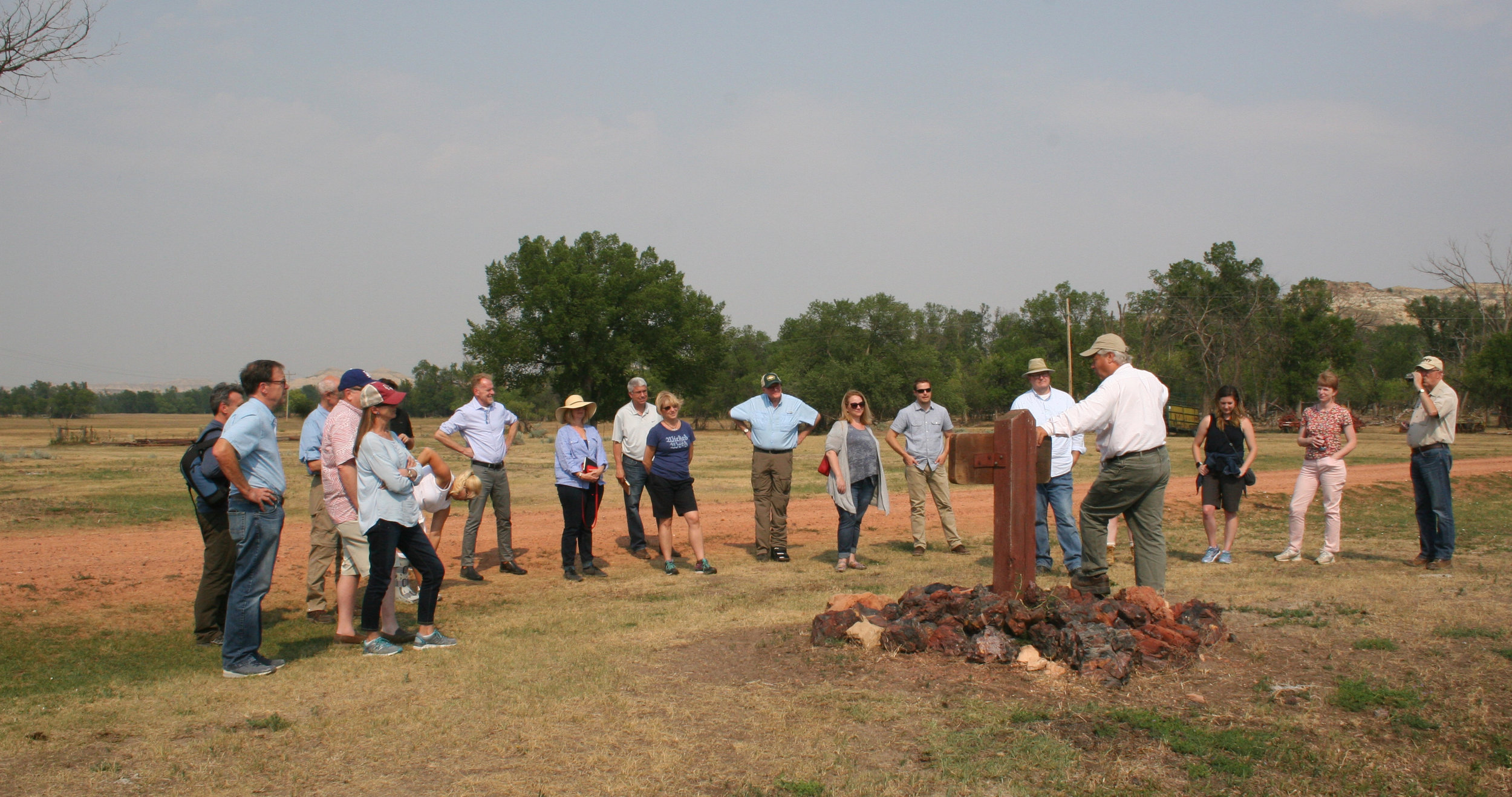 TRPLF staff and consultants visited the site of Theodore Roosevelt's first cabin in the badlands of Dakota Territory - the Maltese Cross Cabin at Chimney Butte Ranch.