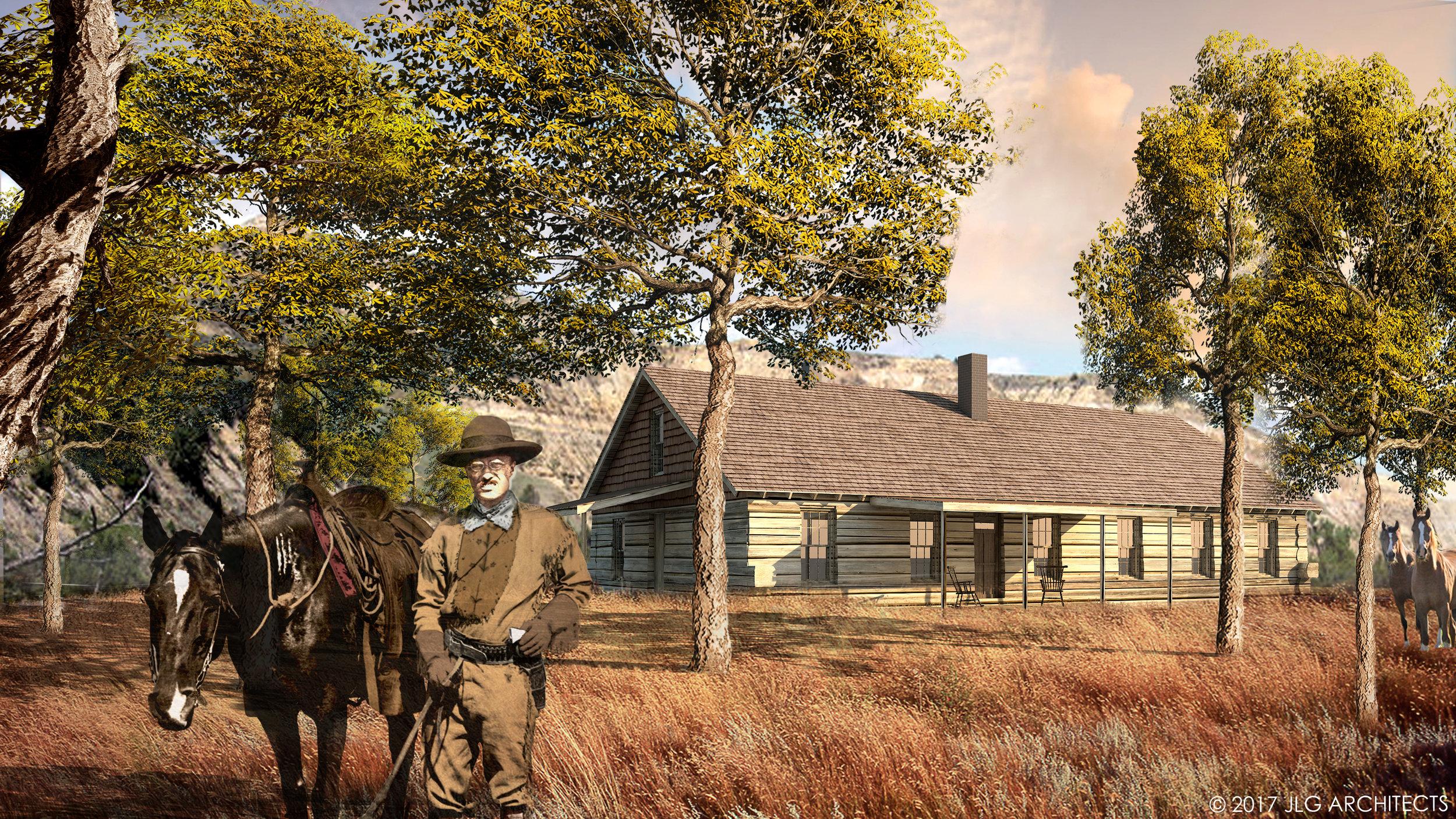 Elkhorn Ranch Cabin Architectural Rendering