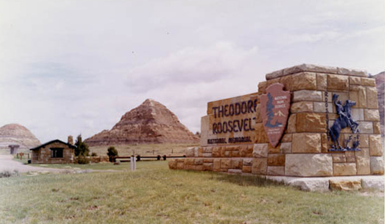 This monument marks the original entrance to Theodore Roosevelt National Memorial Park. Although the entrance is no longer used, visitors can still hike to the location.