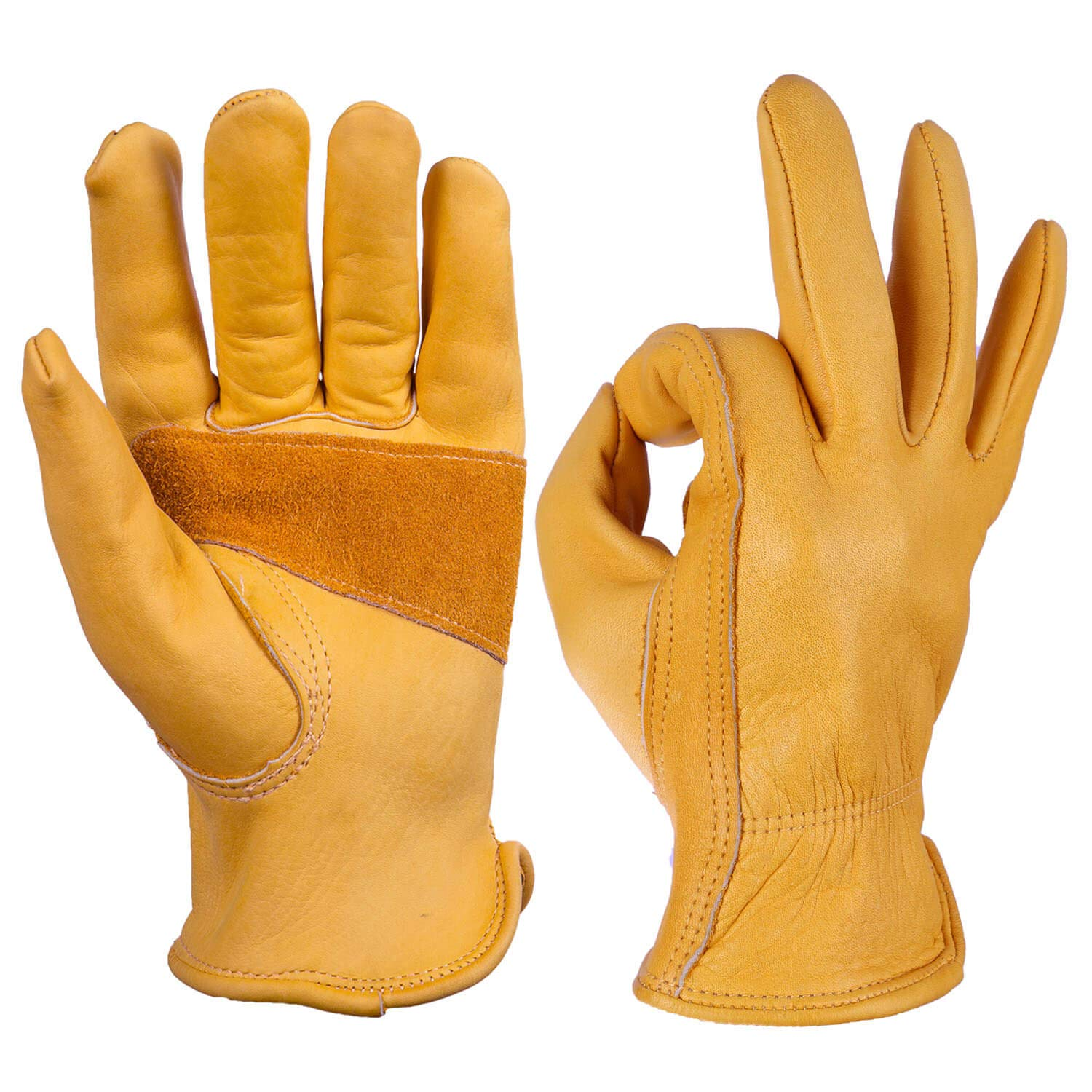 Real leather work gloves.
