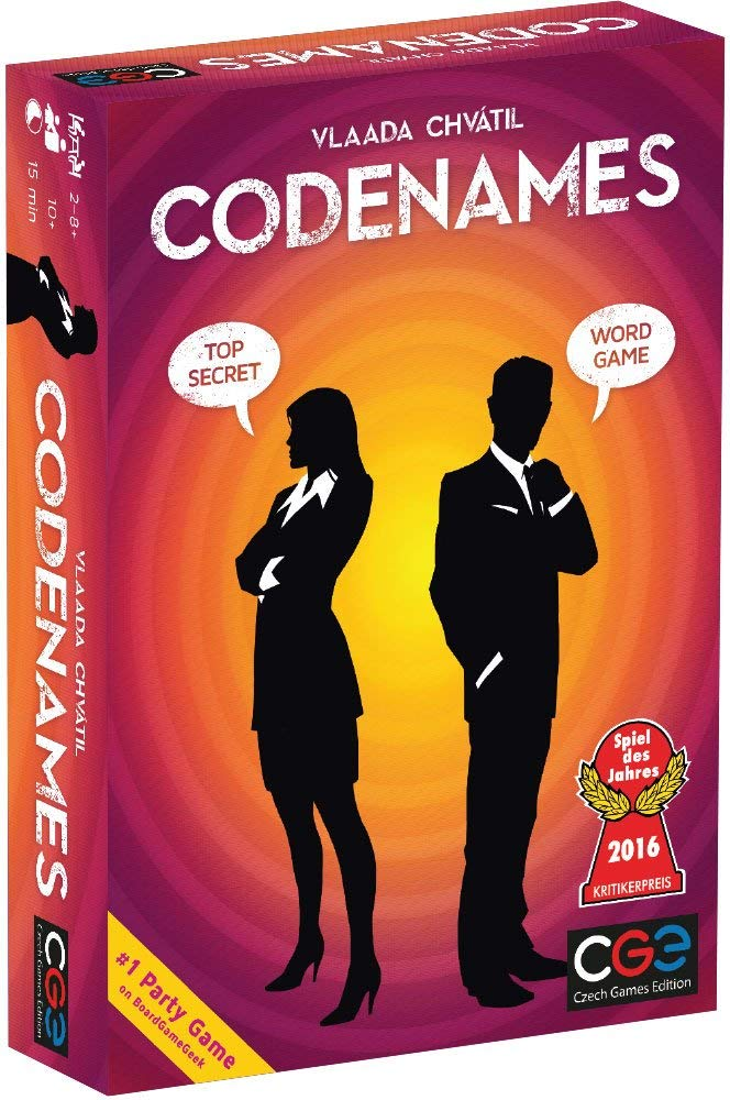 Codenames: Teamwork, strategy + defeating the spies.