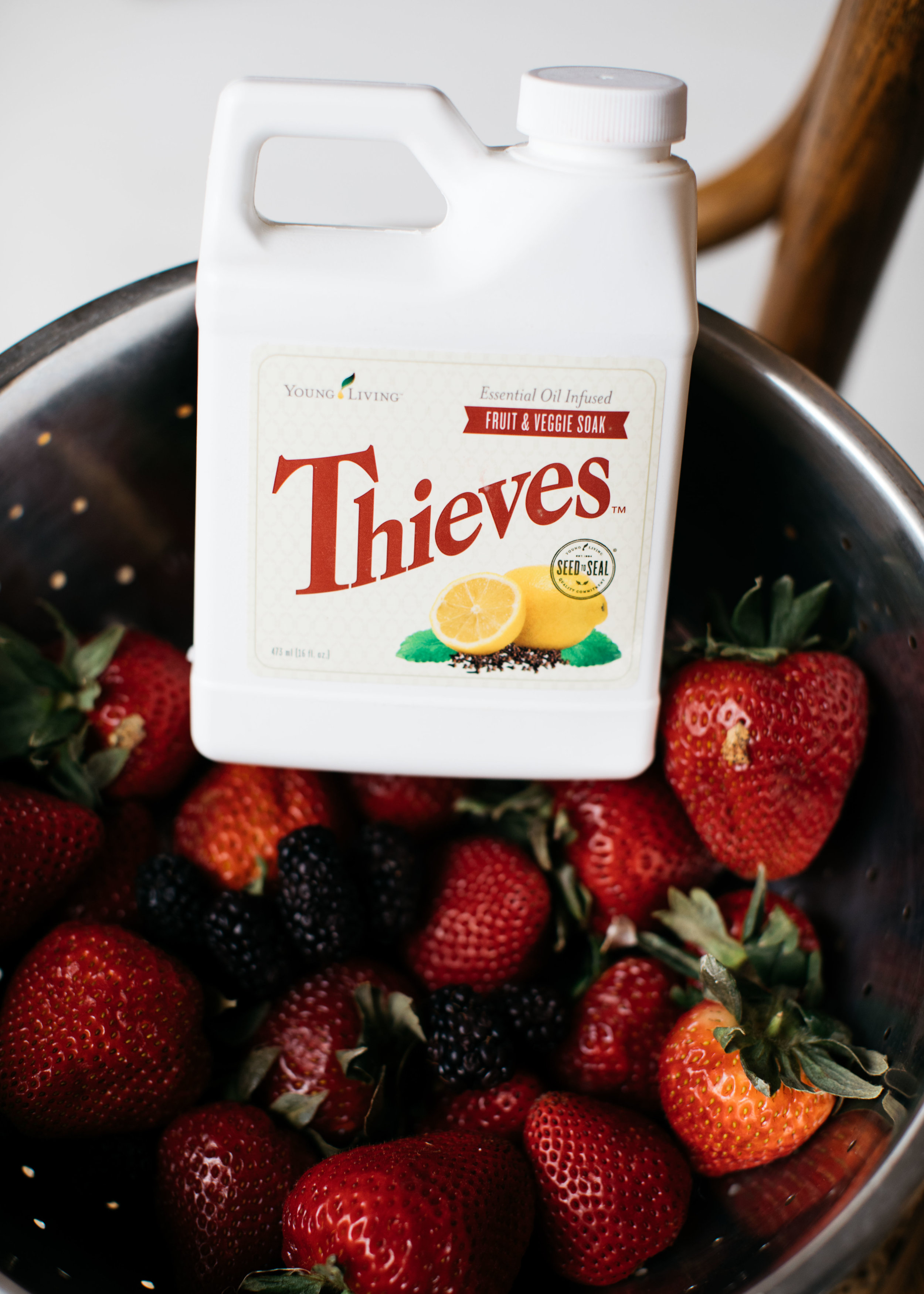 use 1-2 capfuls per sink full of veggies and fruit. Cleans dirt, germs, unwanted sprays off surface. Smells like heaven.