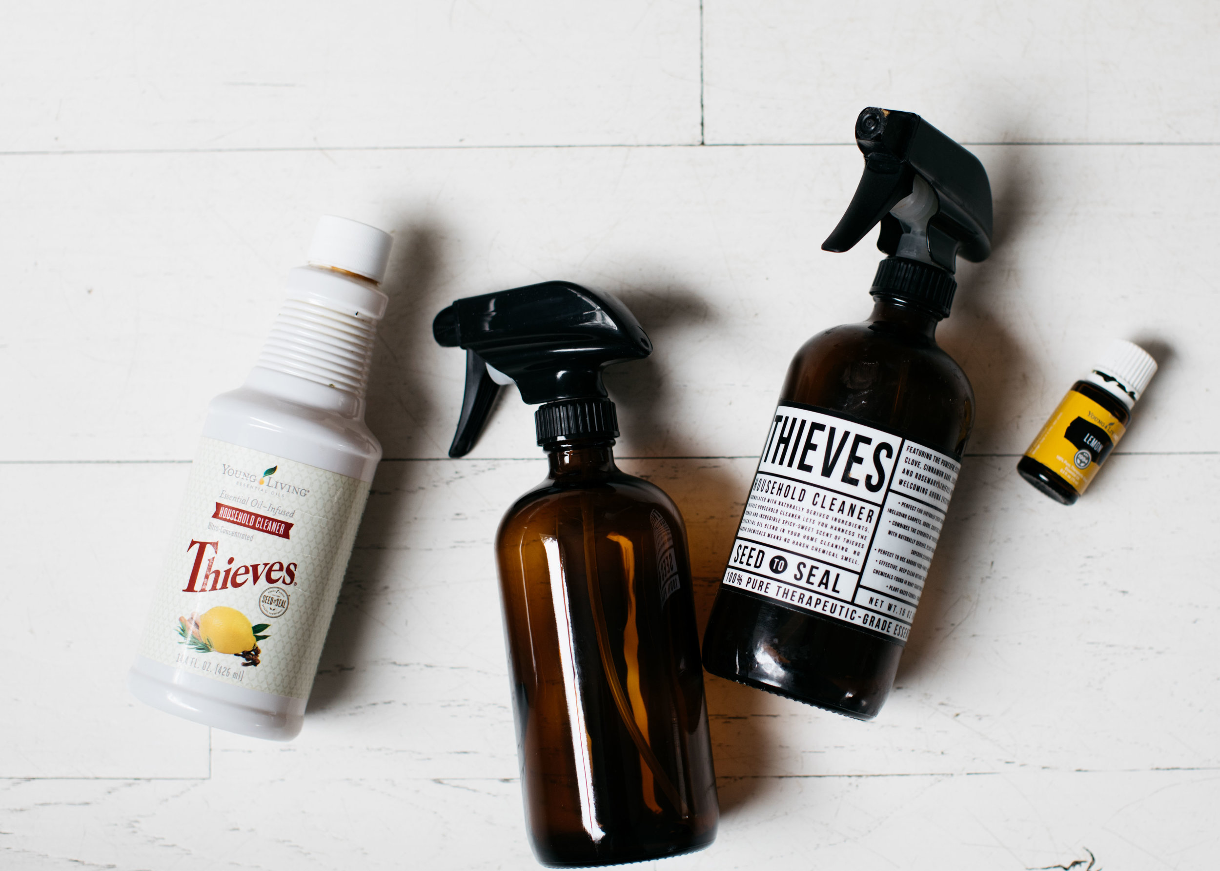 All purpose cleaner recipe: Blend 1 cap of Thieves concentrate cleaner to one 16oz glass spray bottle. Use throughout home. Add lemon for extra cleaning strength.  Toxin Free Soft Scrub: Mix 1/2 cup baking soda, 2 caps of thieves concentrate + 8 drops of lemon. Mix well. Shake onto surface and scrub. Let sit for ten minutes. Rinse.  Stain Spray: 1 Capful Thieves Laundry Detergent + 2 Capfuls Concentrate cleaner + 20 drops lemon essential oil, fill with water.