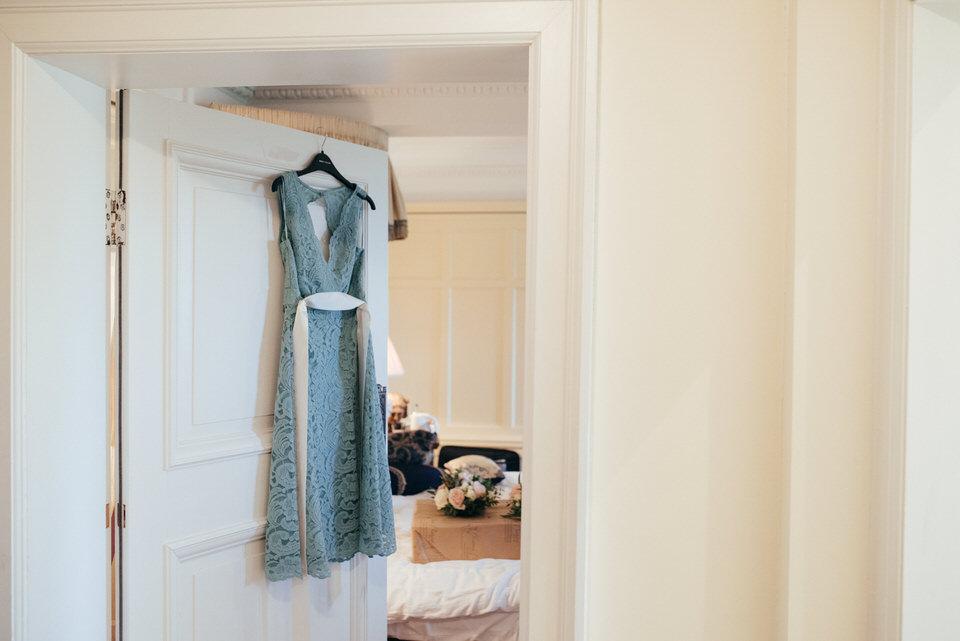 Hanging bridesmaids dress
