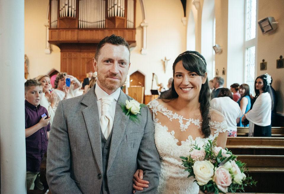 Bride and groom aisle Springkell