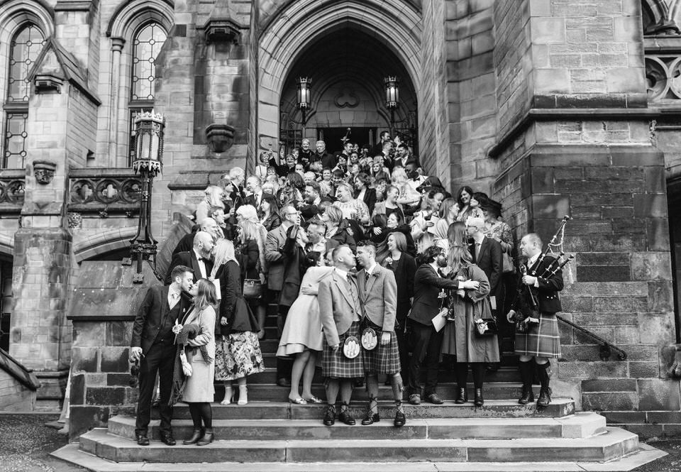 Wedding Group Shot Glasgow Uni