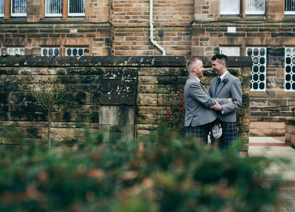 Gay wedding Glasgow University portraits