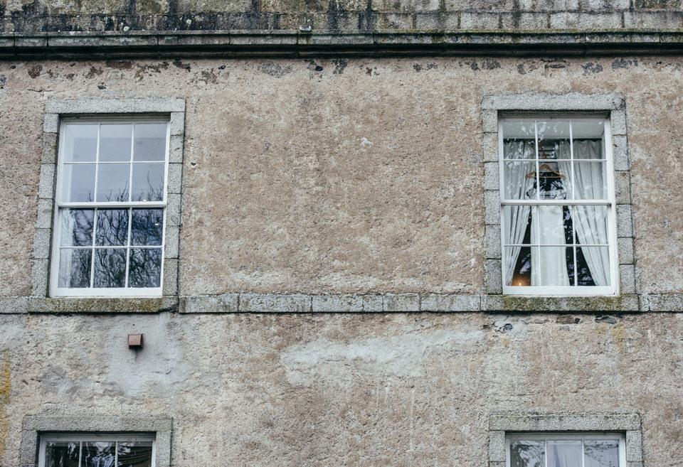 Hanging wedding dress window