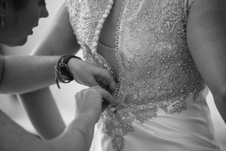 Buttoned up wedding dress