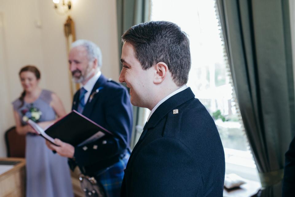 Groom reaction to seeing bride