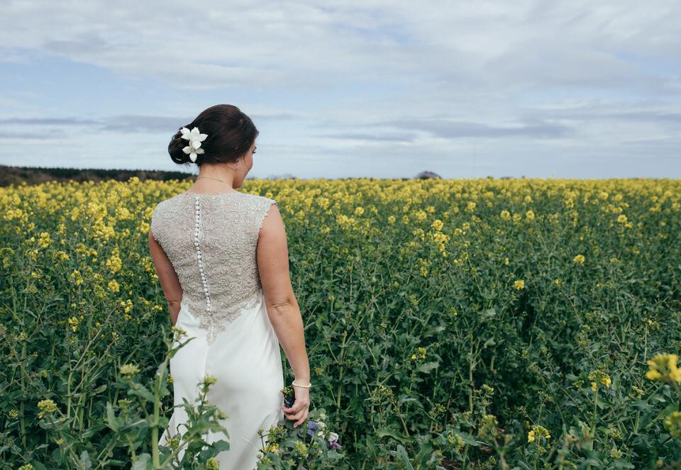 Rapeseed field wedding portraits