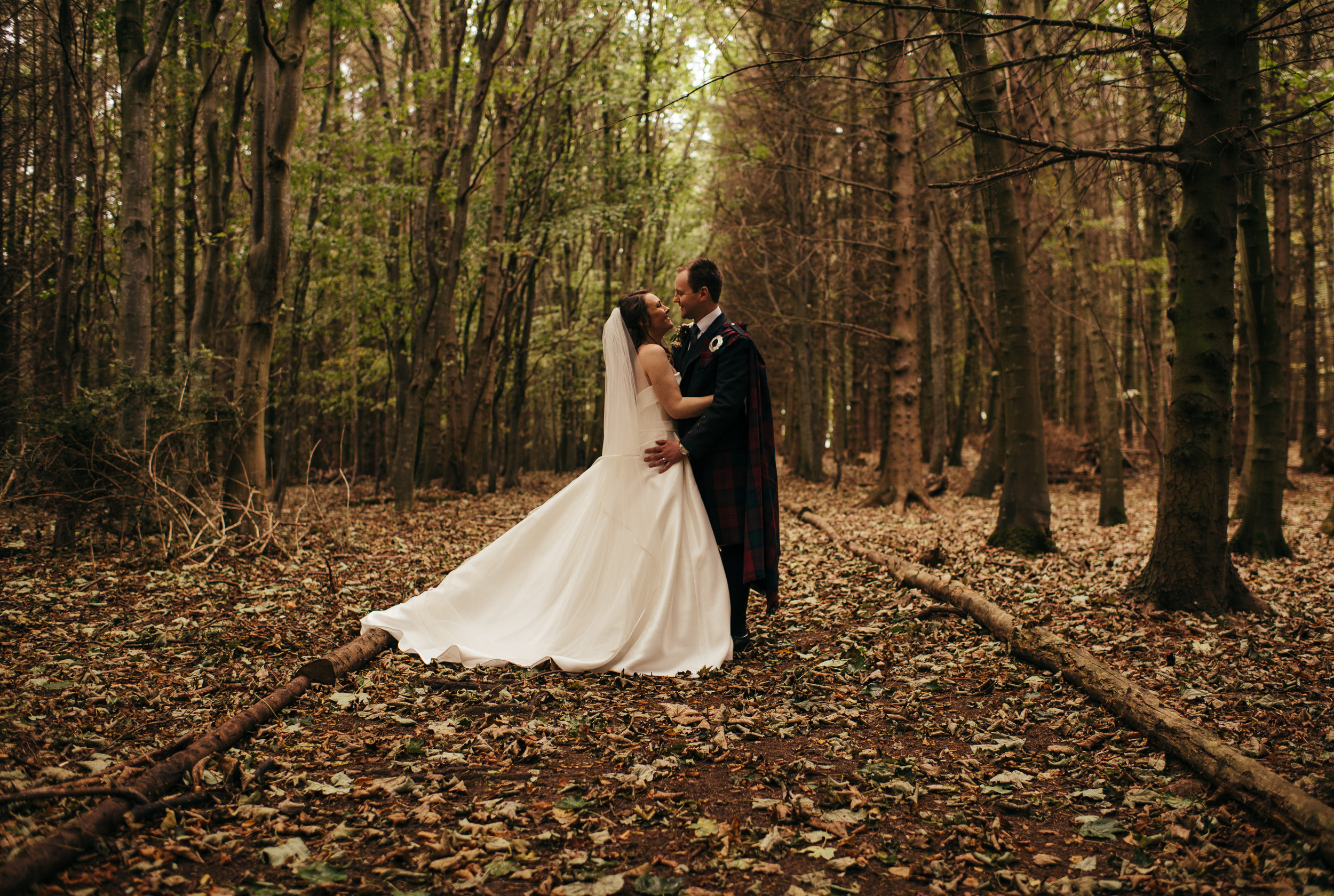 Autumn woodland wedding portraits