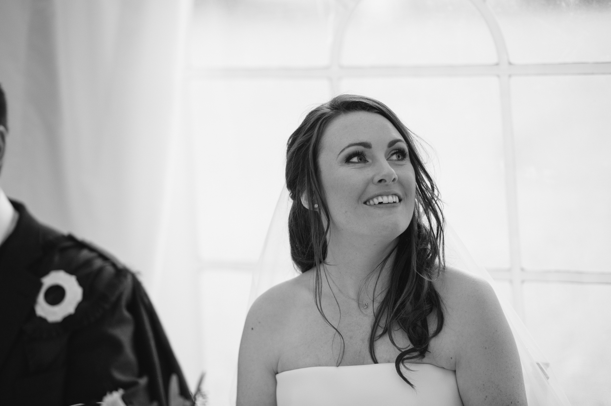 Bride reaction during speeches