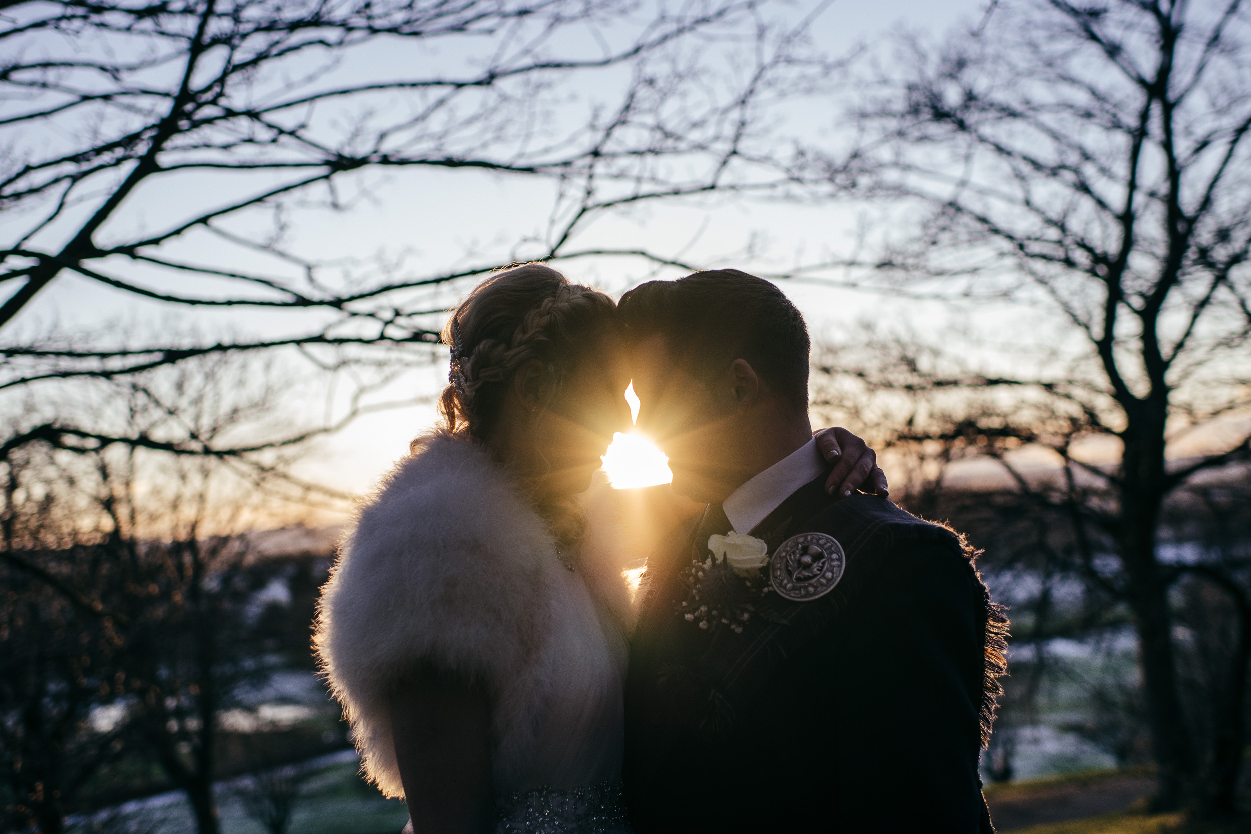 Scottish winter sunset wedding