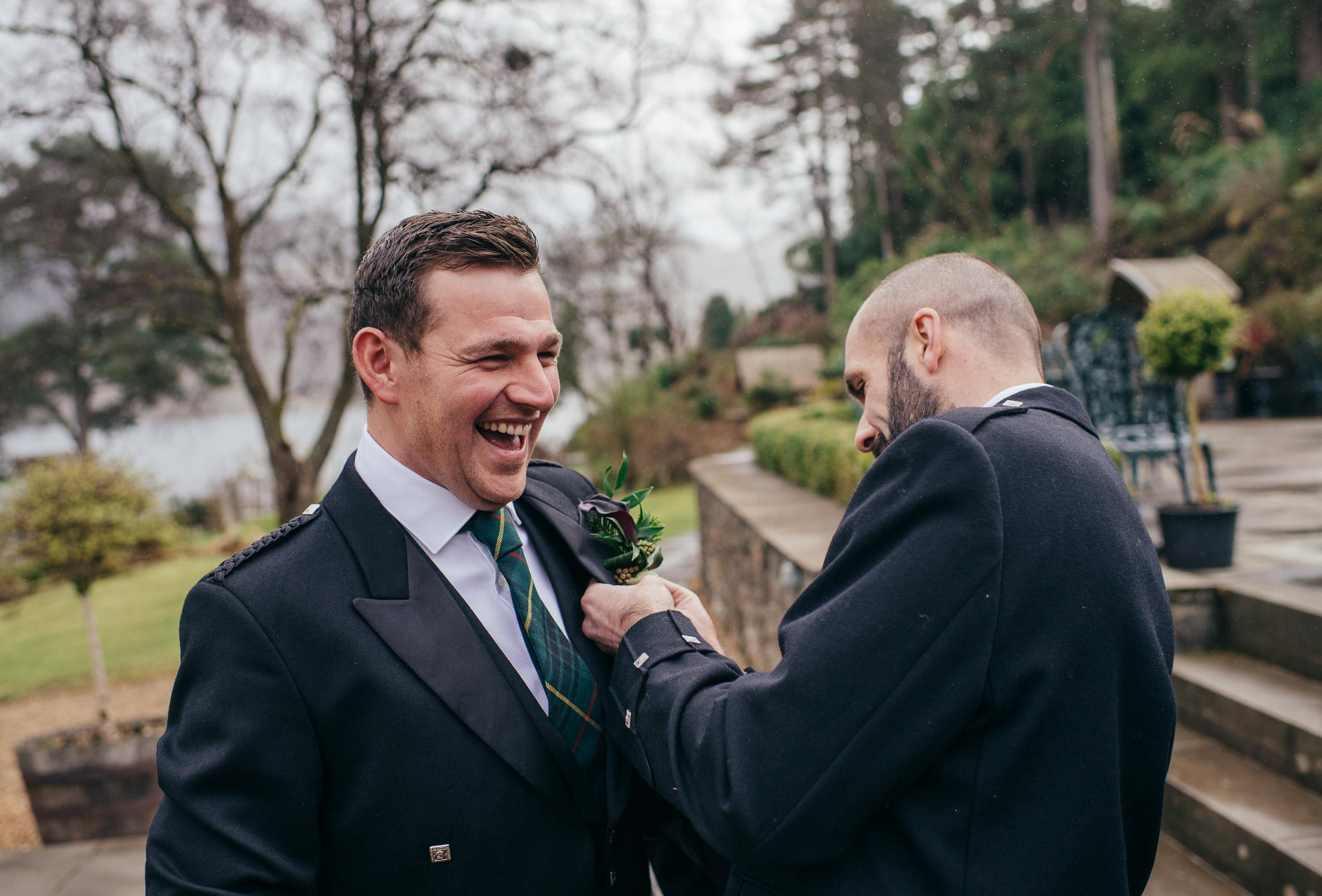 Groom preparations Scottish wedding