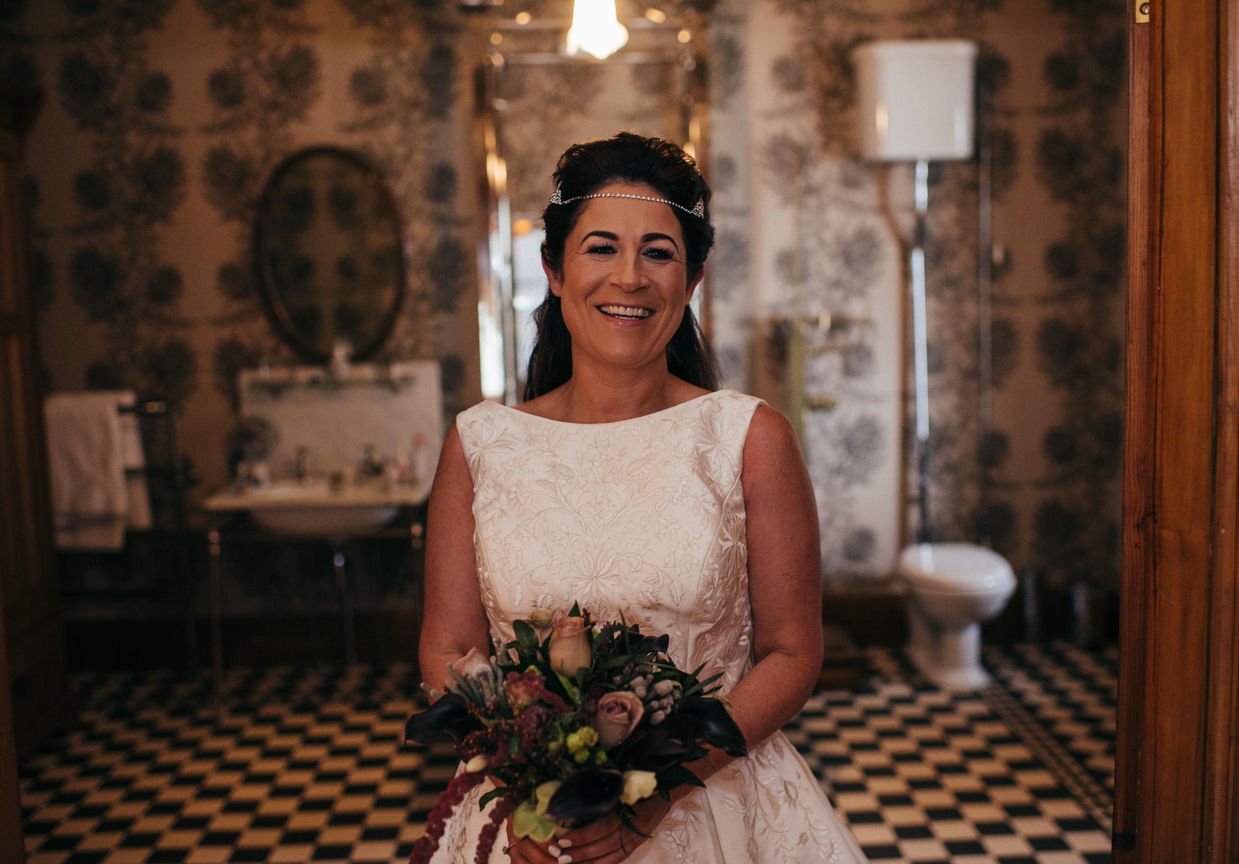 Bride in dress before wedding