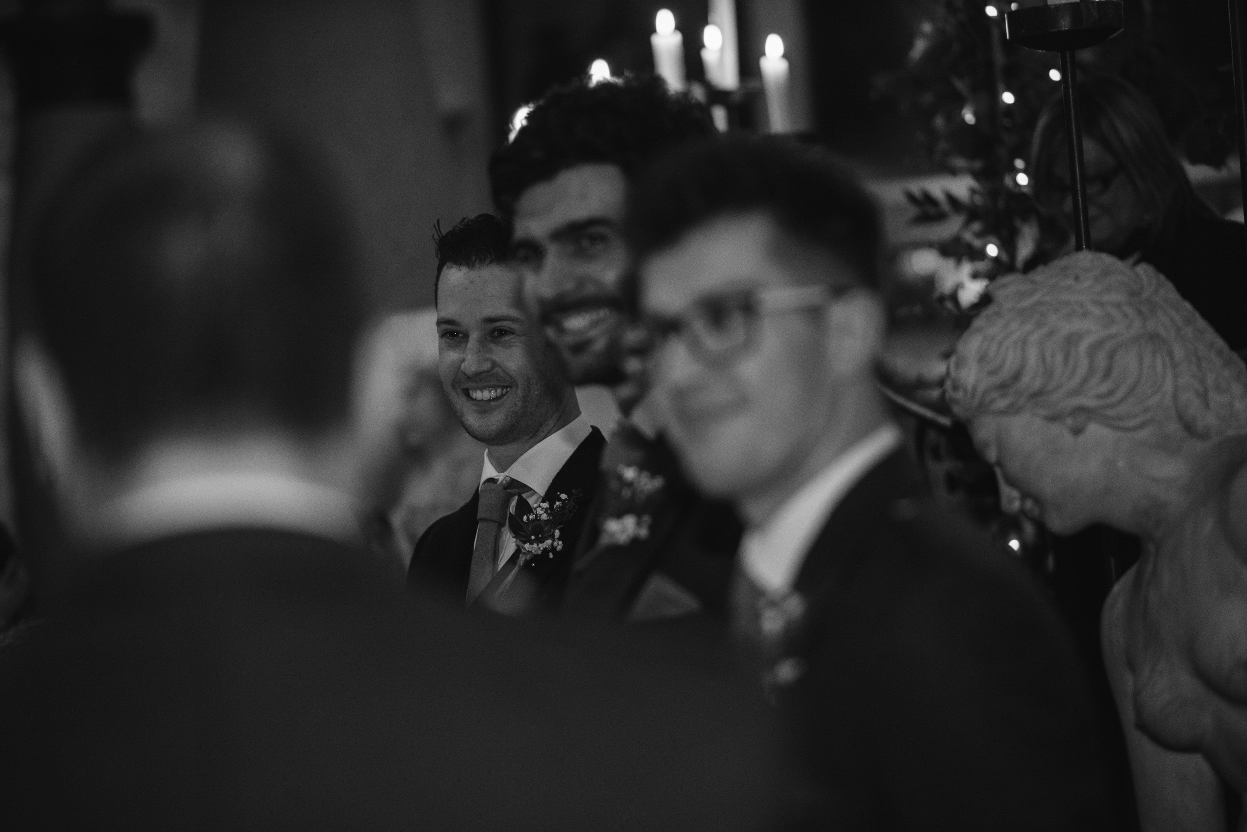 Groom reaction to bride's arrival